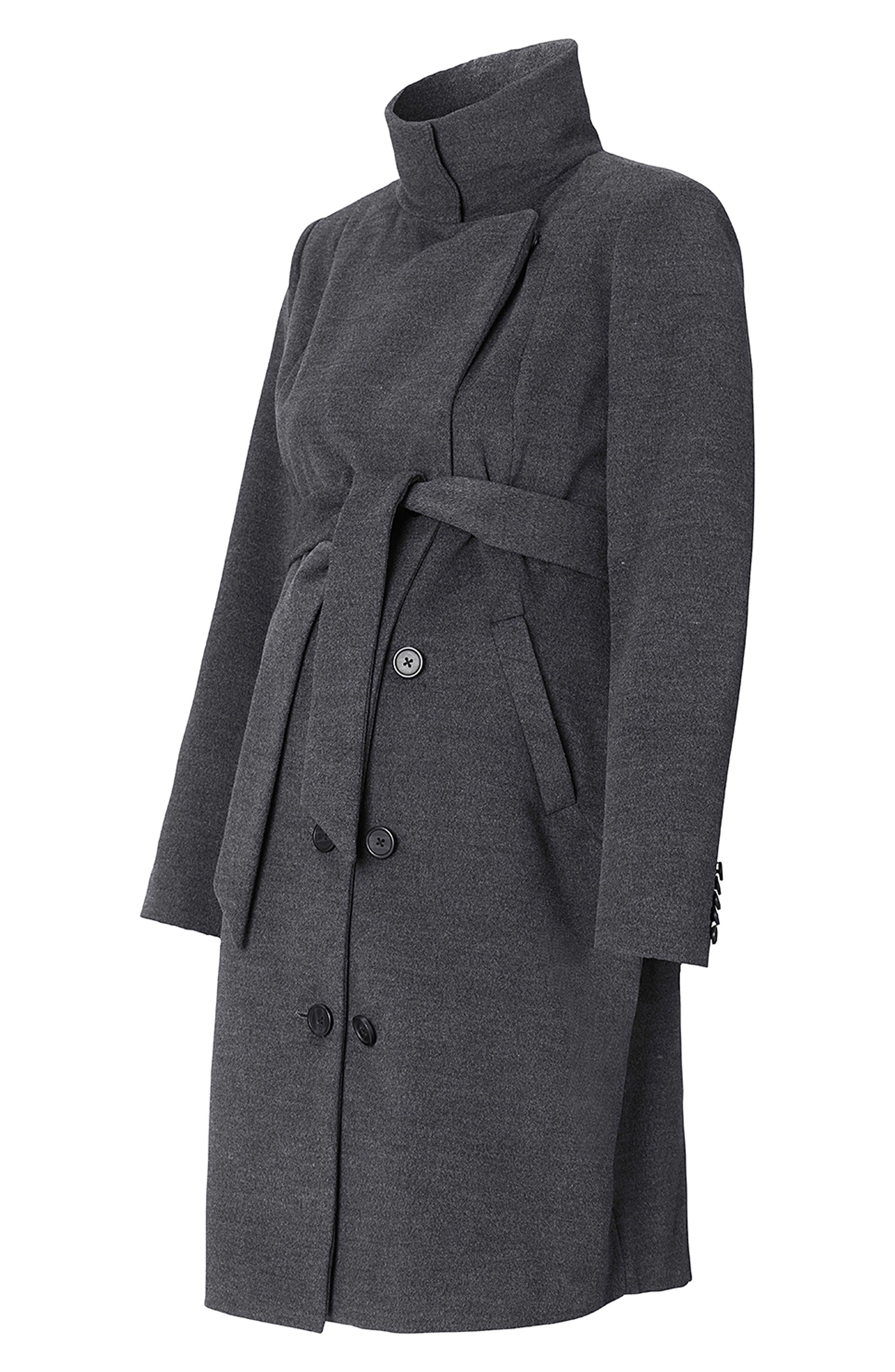 Ilena 2 Maternity Coat,                             Alternate thumbnail 3, color,                             BLACK MELANGE