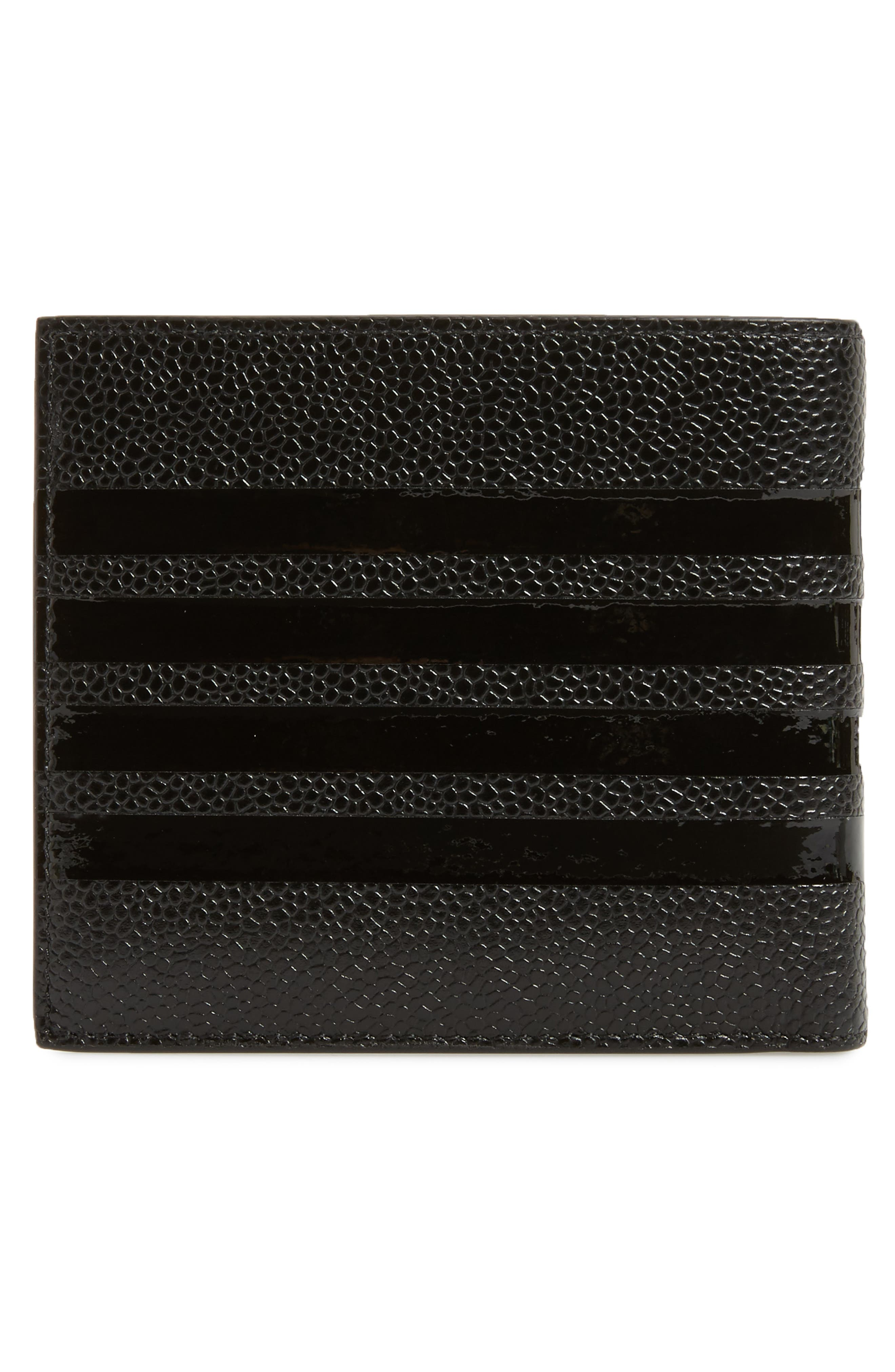 THOM BROWNE,                             Patent Leather Bifold Wallet,                             Alternate thumbnail 3, color,                             001