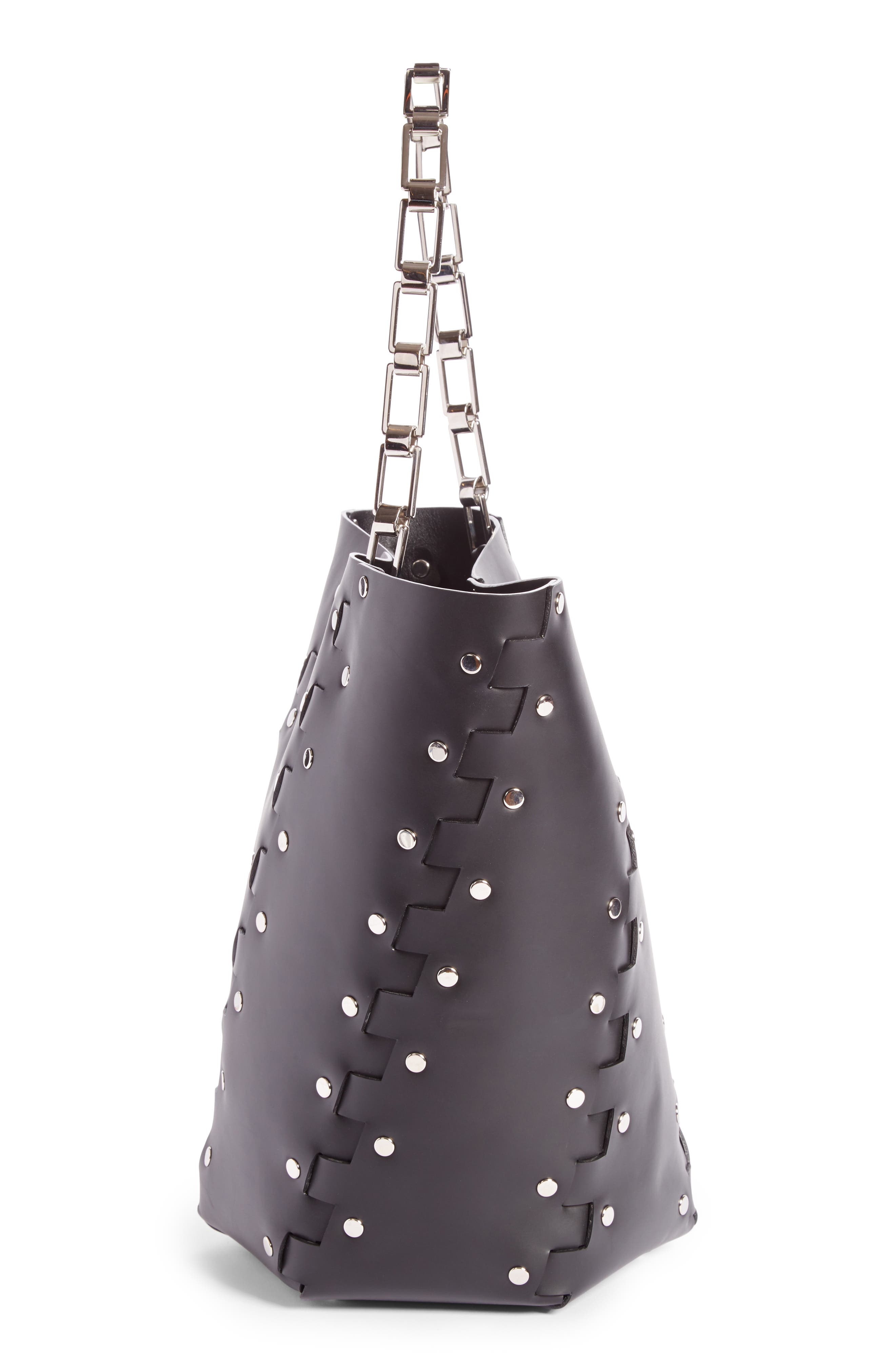 Medium Hex Studded Leather Bucket Bag,                             Alternate thumbnail 4, color,                             001