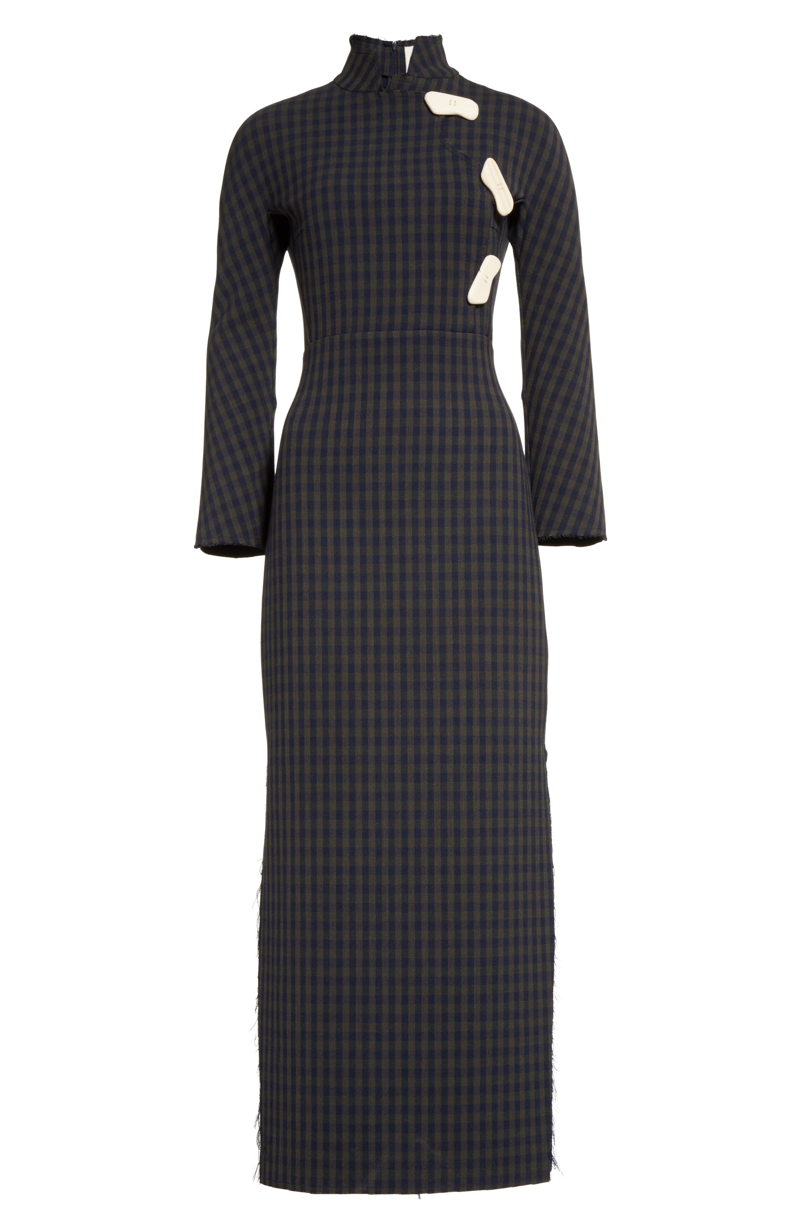 A.W.A.K.E.,                             Fitted Gingham Dress with Carved Wooden Buttons,                             Alternate thumbnail 6, color,                             300