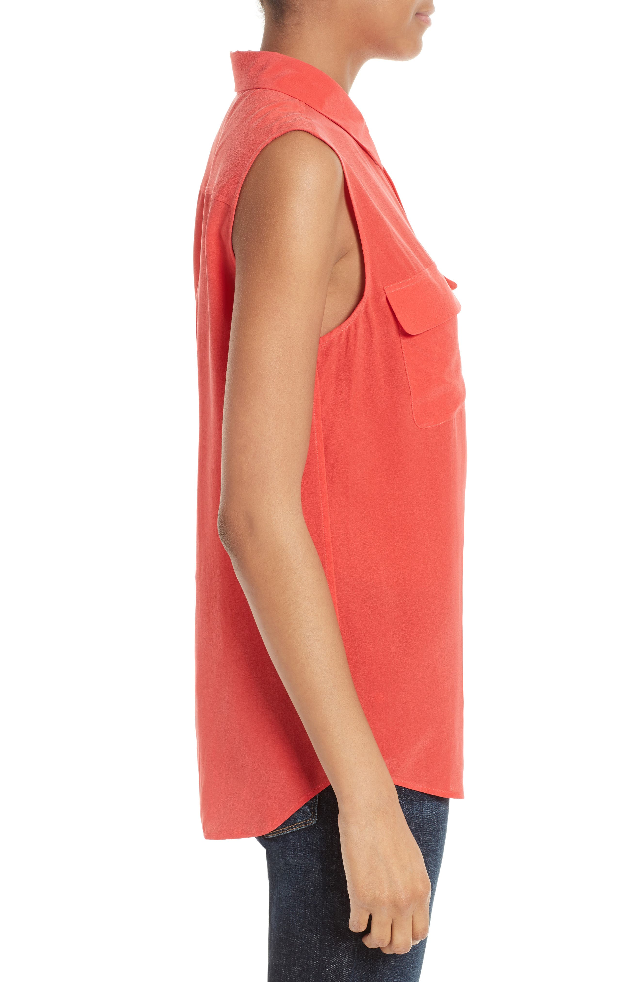 'Slim Signature' Sleeveless Silk Shirt,                             Alternate thumbnail 82, color,