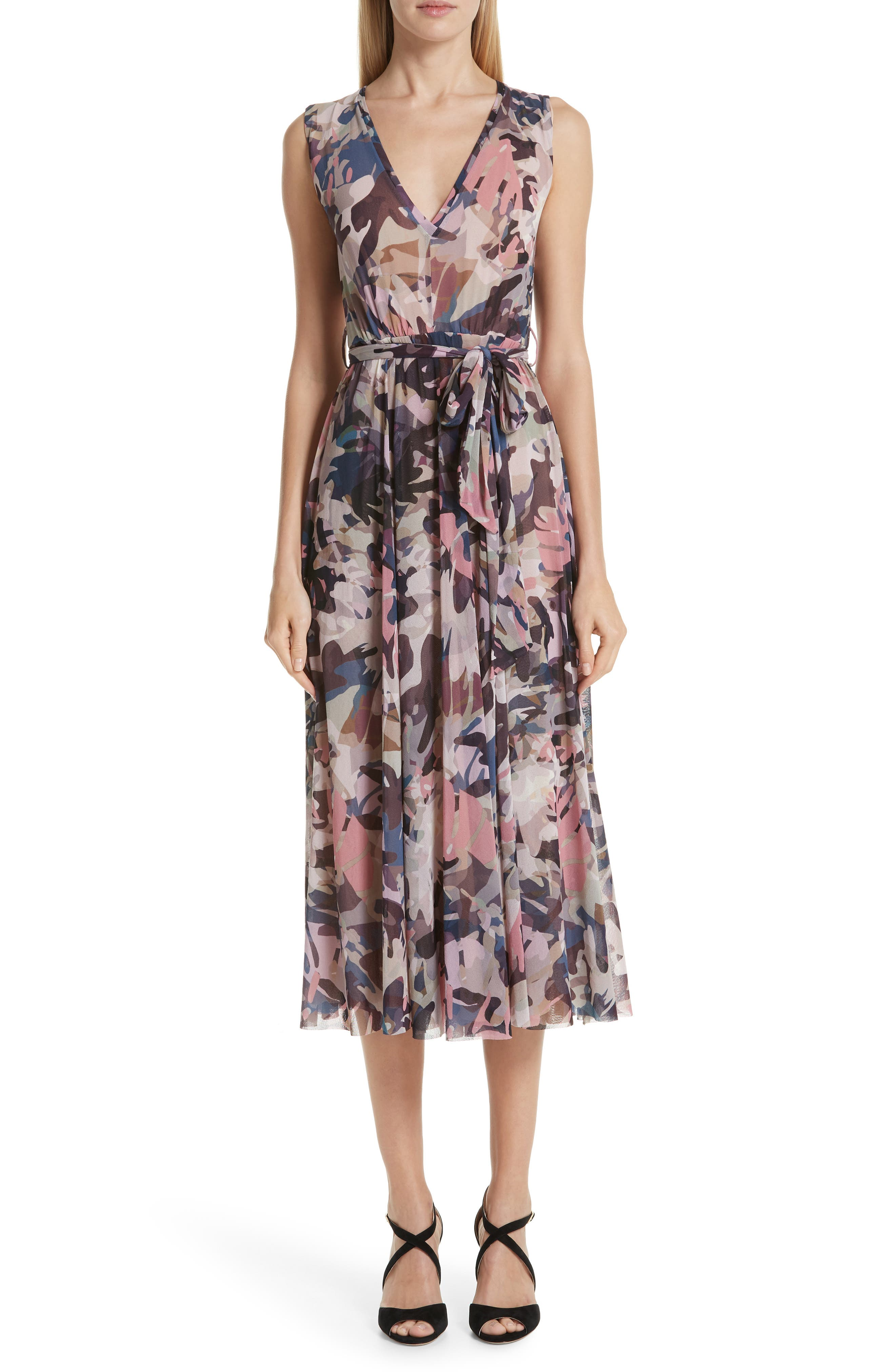Fuzzi Camo Tulle Dress, Pink