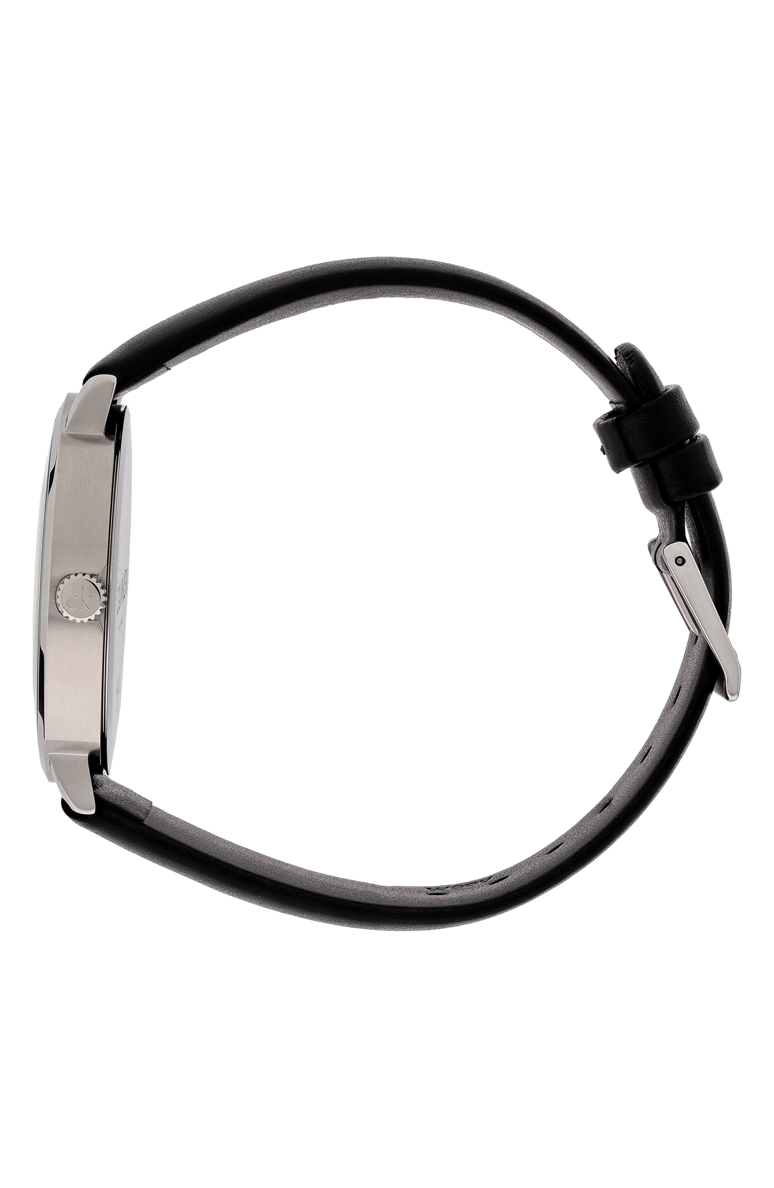 Posh Leather Band Watch, 40mm,                             Alternate thumbnail 3, color,                             BLACK/ SILVER