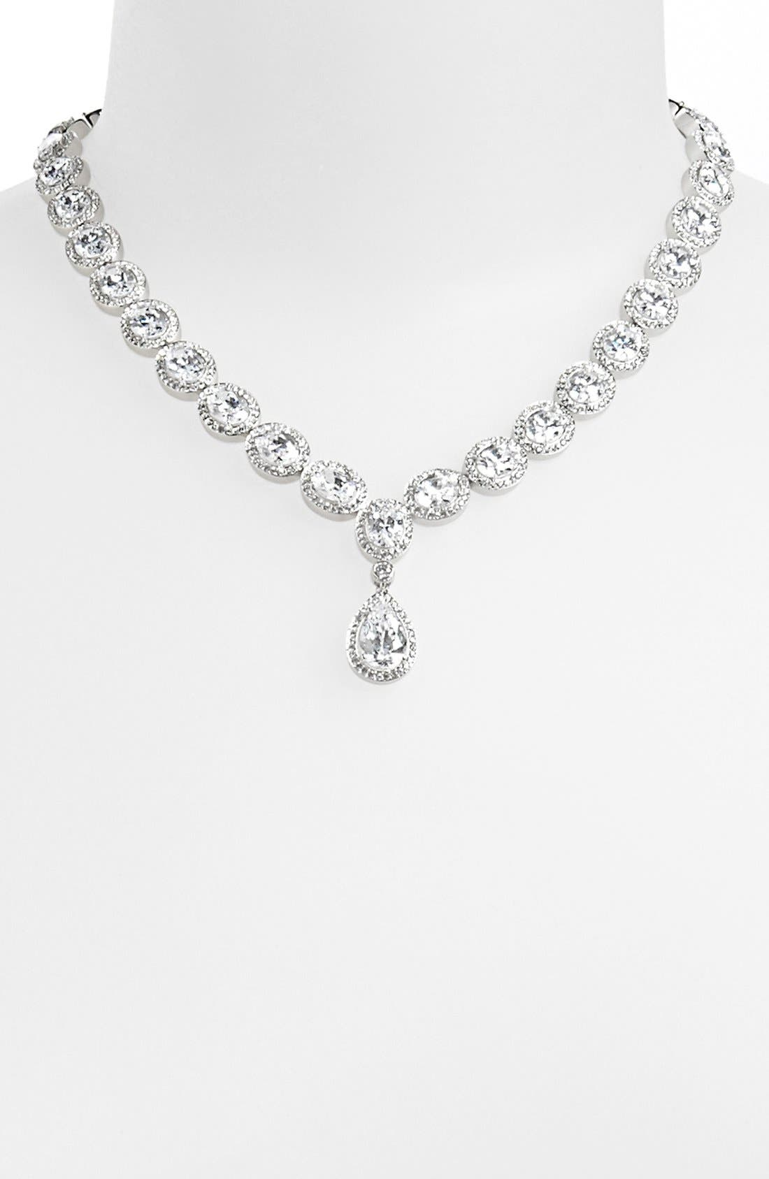 Cubic Zirconia & Crystal Pear Drop Necklace,                             Alternate thumbnail 2, color,                             040