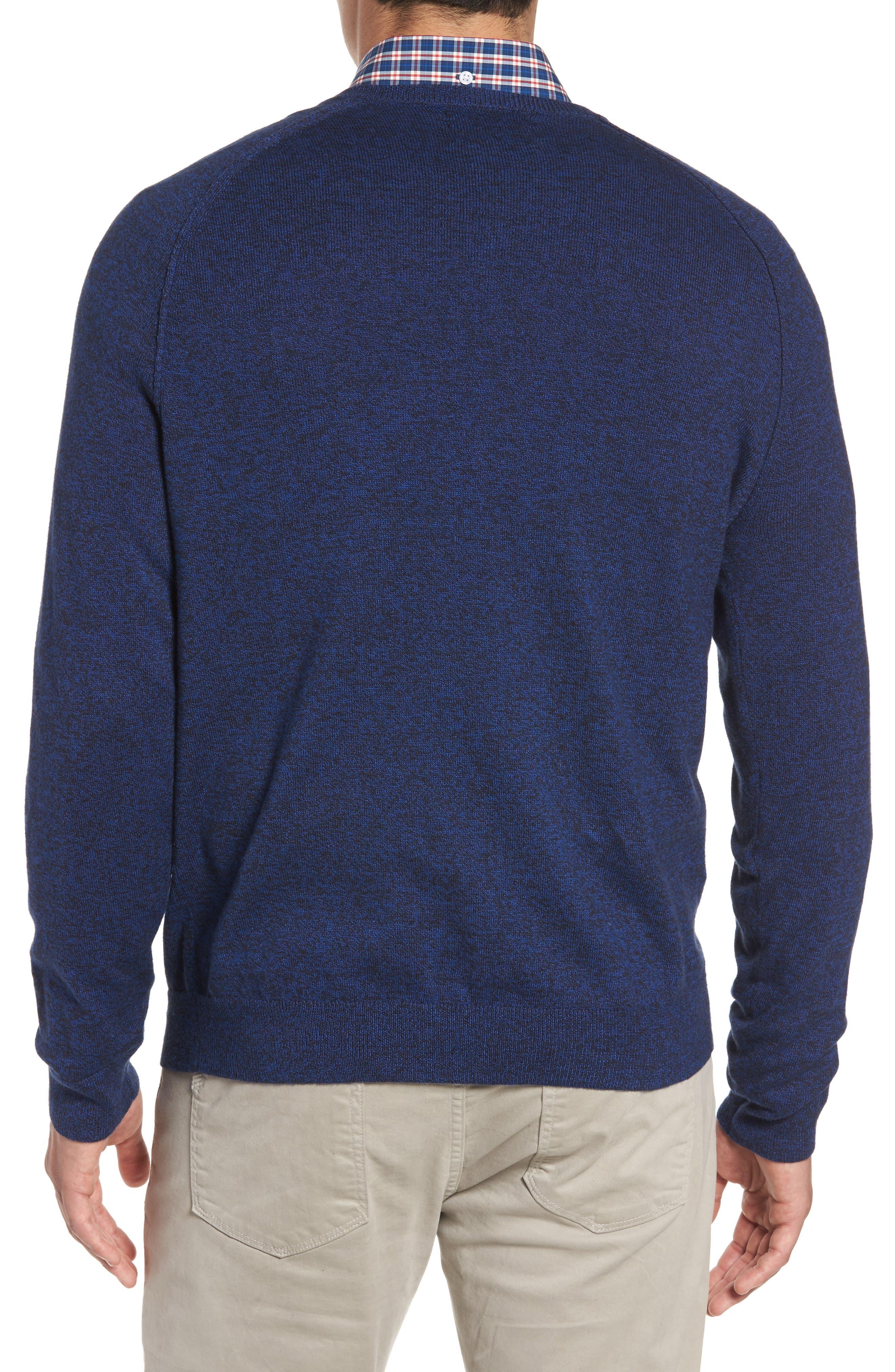 Saddle Shoulder Cotton & Cashmere V-Neck Sweater,                             Alternate thumbnail 14, color,