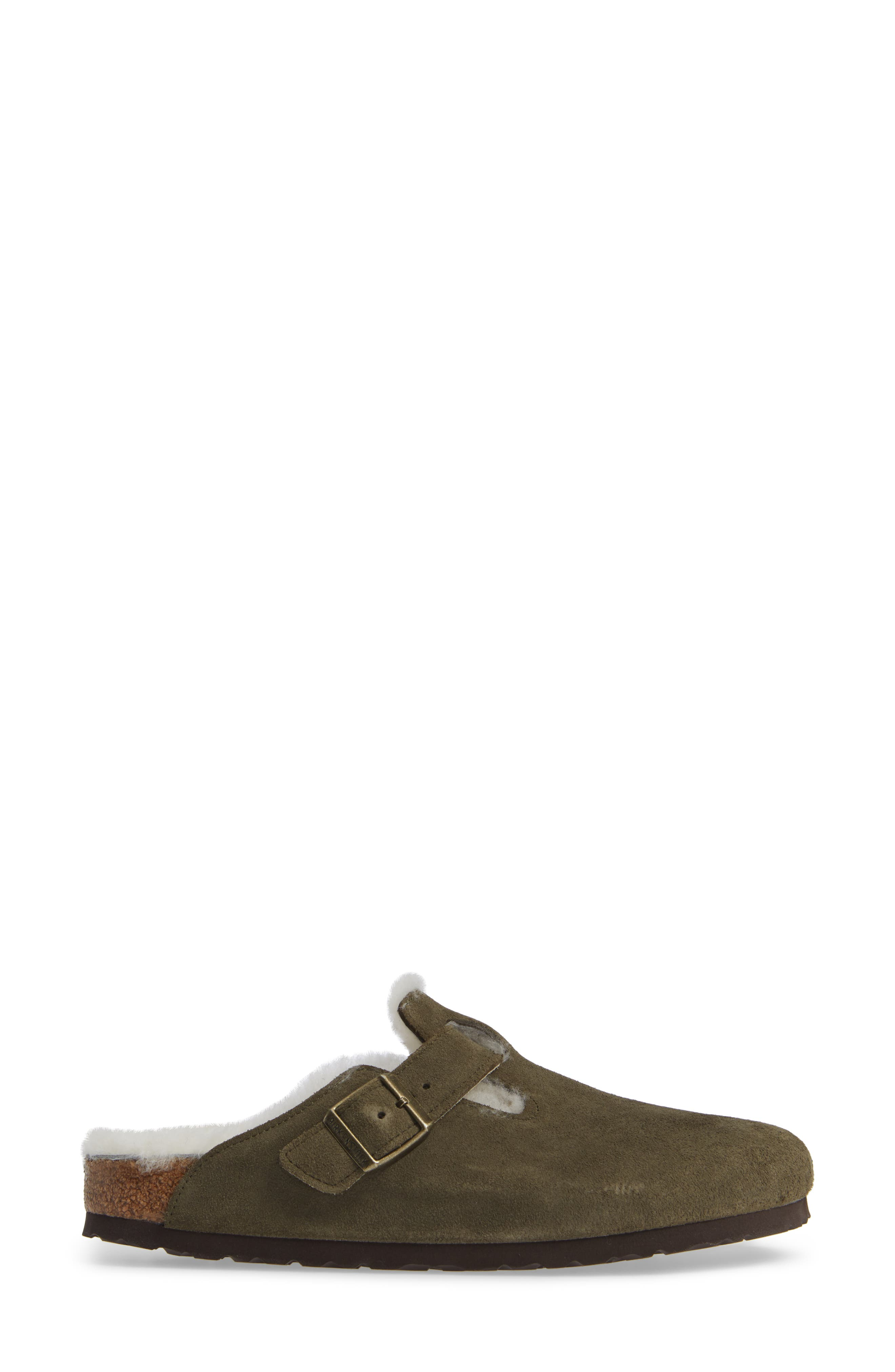 'Boston' Genuine Shearling Lined Clog,                             Alternate thumbnail 3, color,                             FOREST/ NATURAL SUEDE
