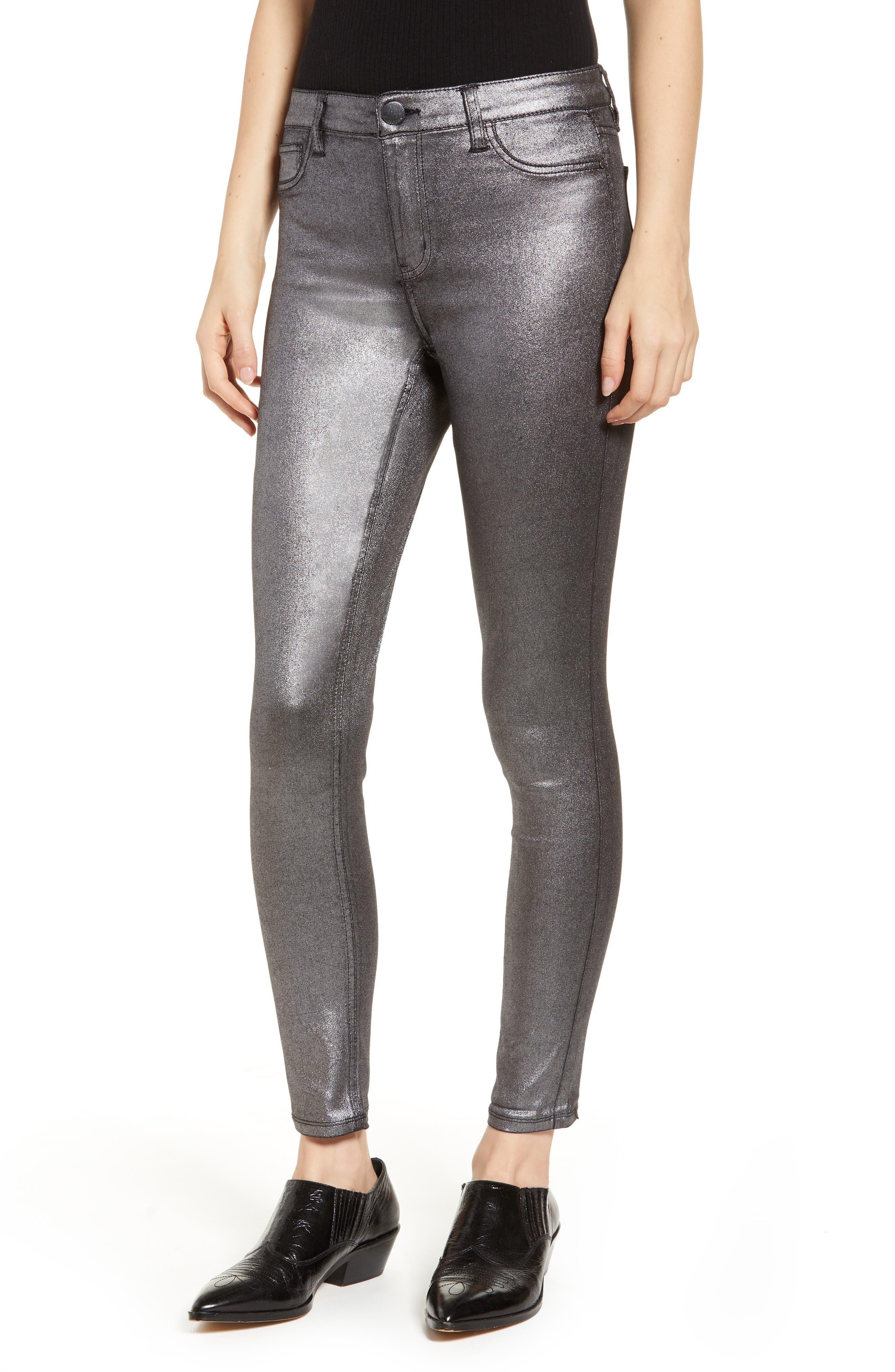 Metallic Coated Skinny Jeans,                             Main thumbnail 1, color,                             001