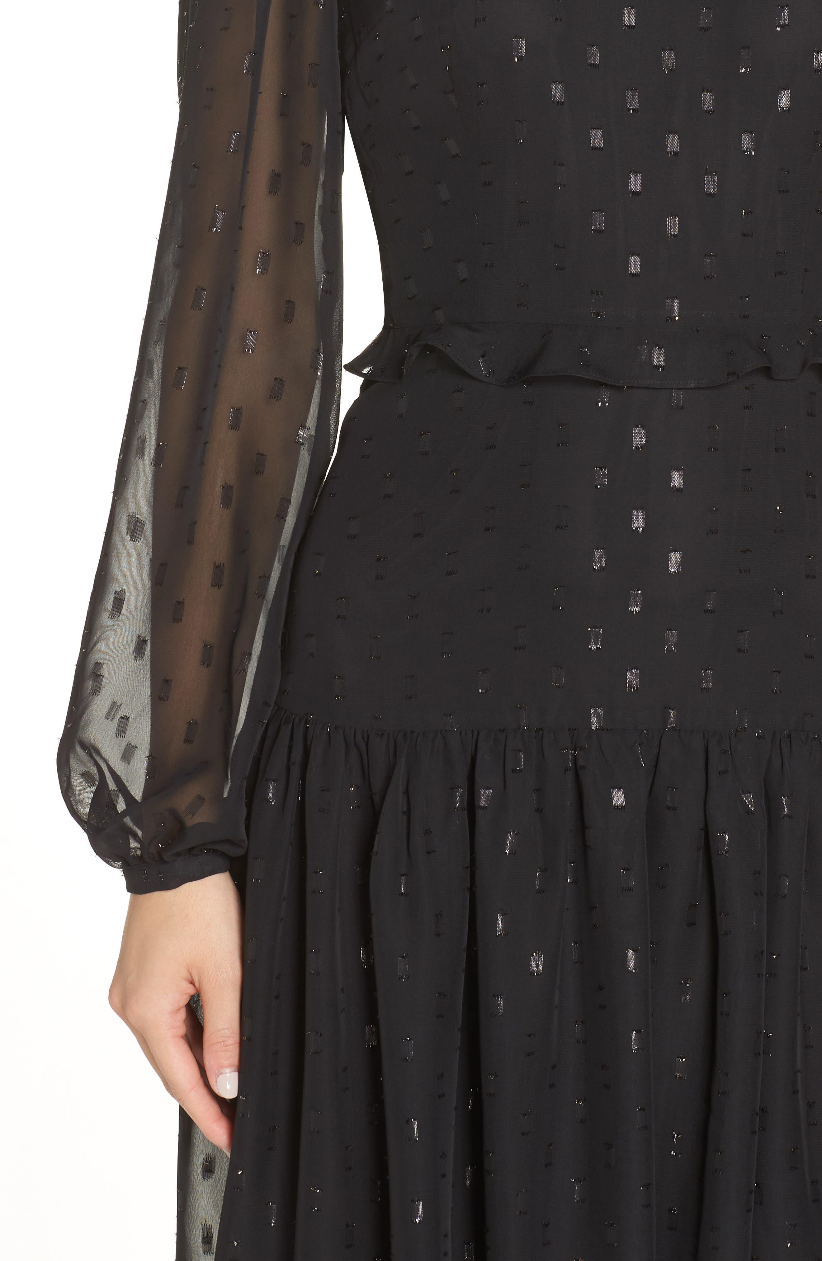 CHELSEA28, Fil Coupé Midi Dress, Alternate thumbnail 5, color, 001