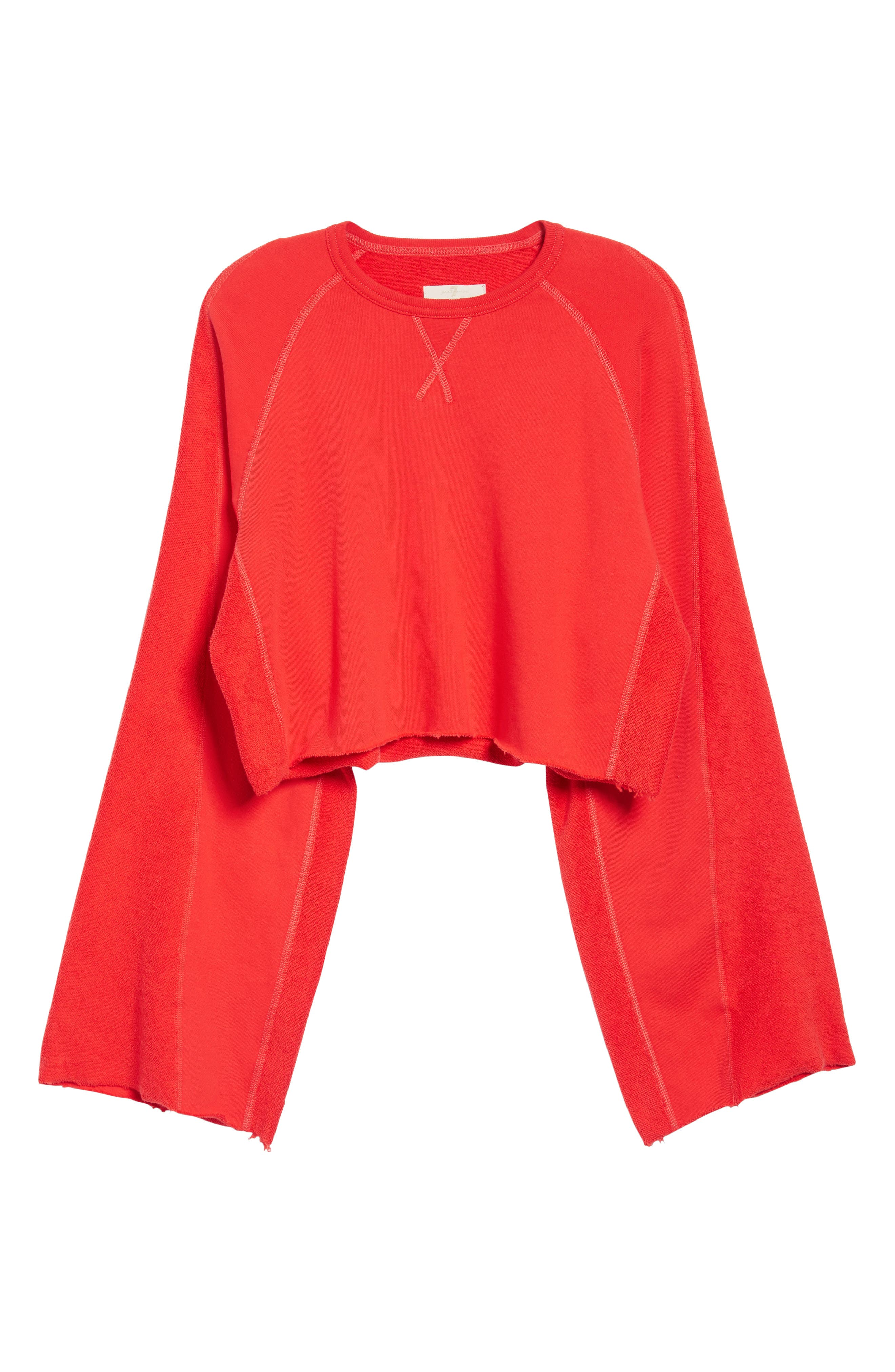 Flare Sleeve Crop Sweatshirt,                             Alternate thumbnail 6, color,