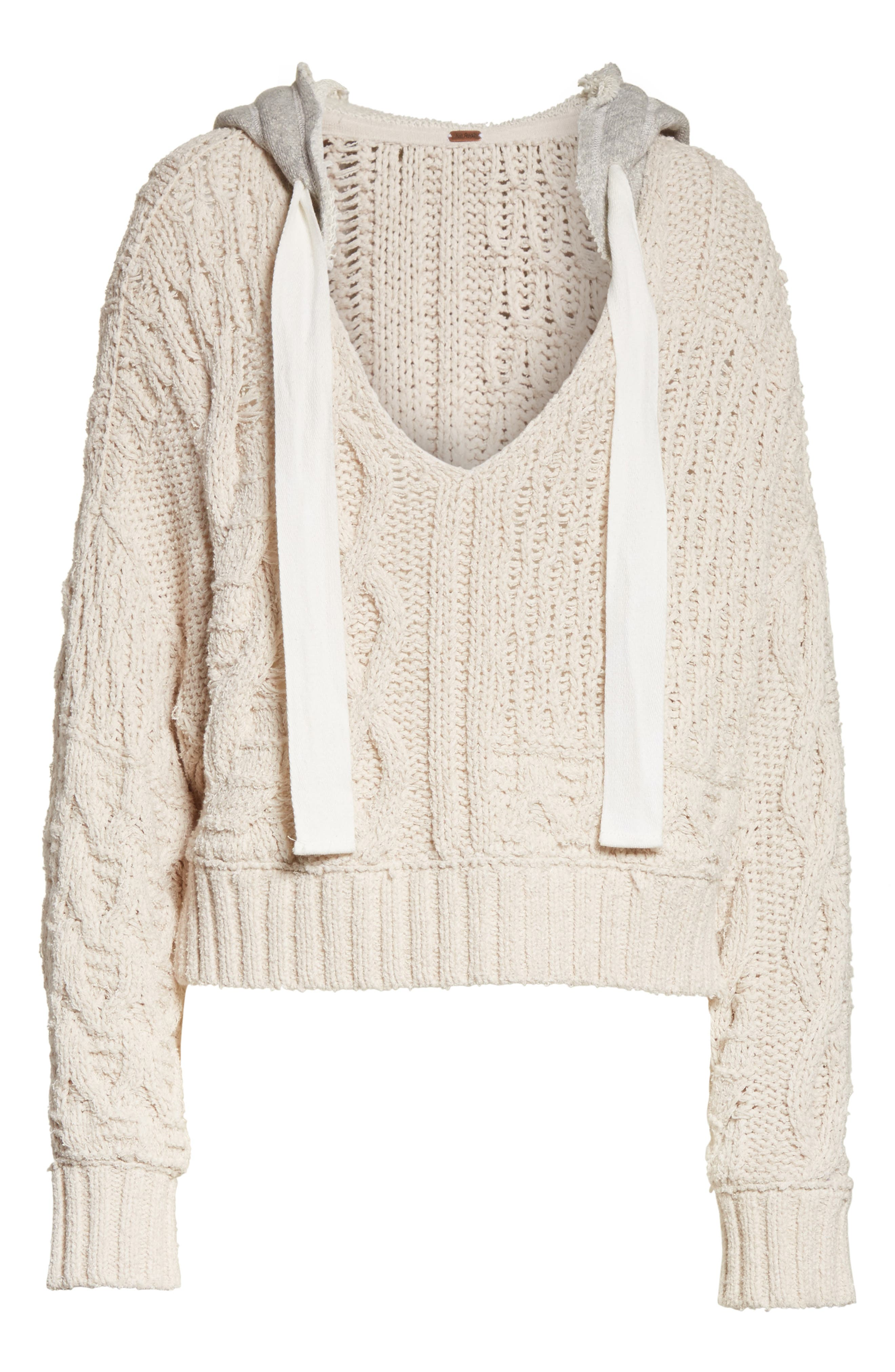 Tierra Cable Knit Hoodie,                             Alternate thumbnail 6, color,                             903