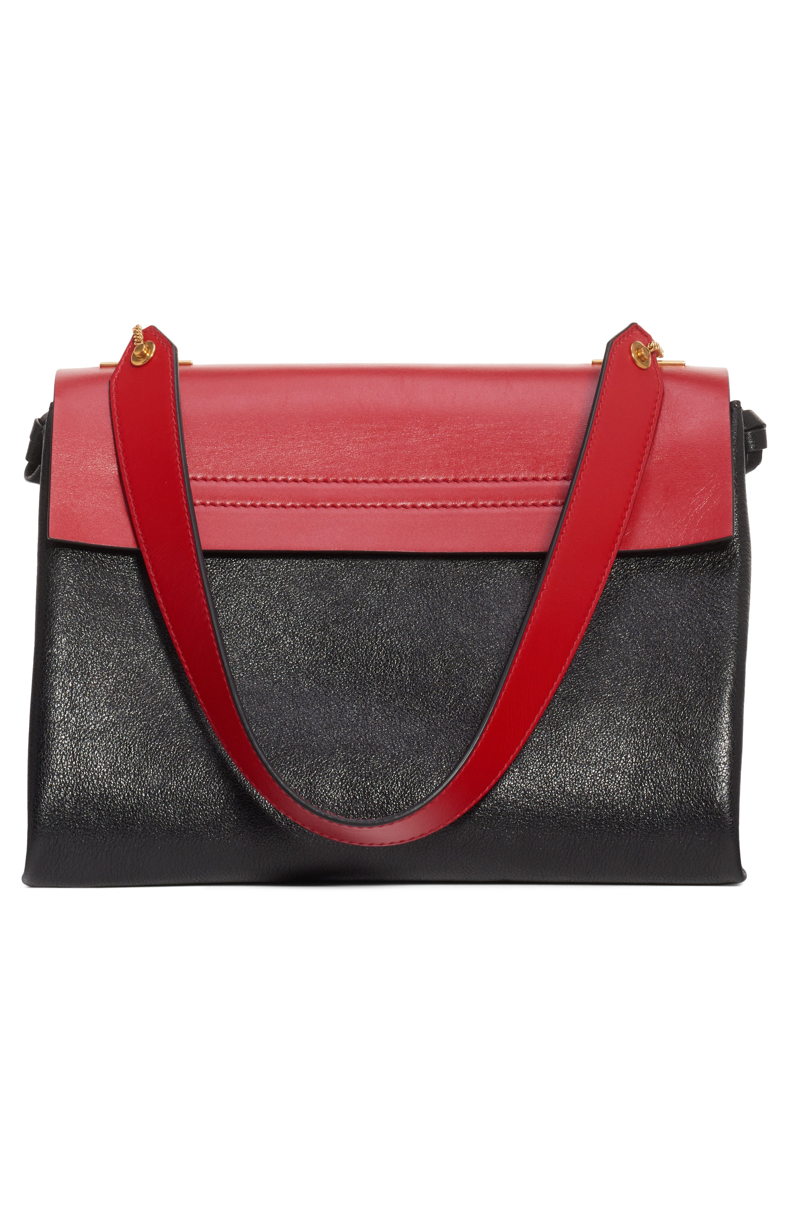 Medium V-Ring Leather Shoulder Bag,                             Alternate thumbnail 2, color,                             ROUGE PUR-CERISE/ NERO