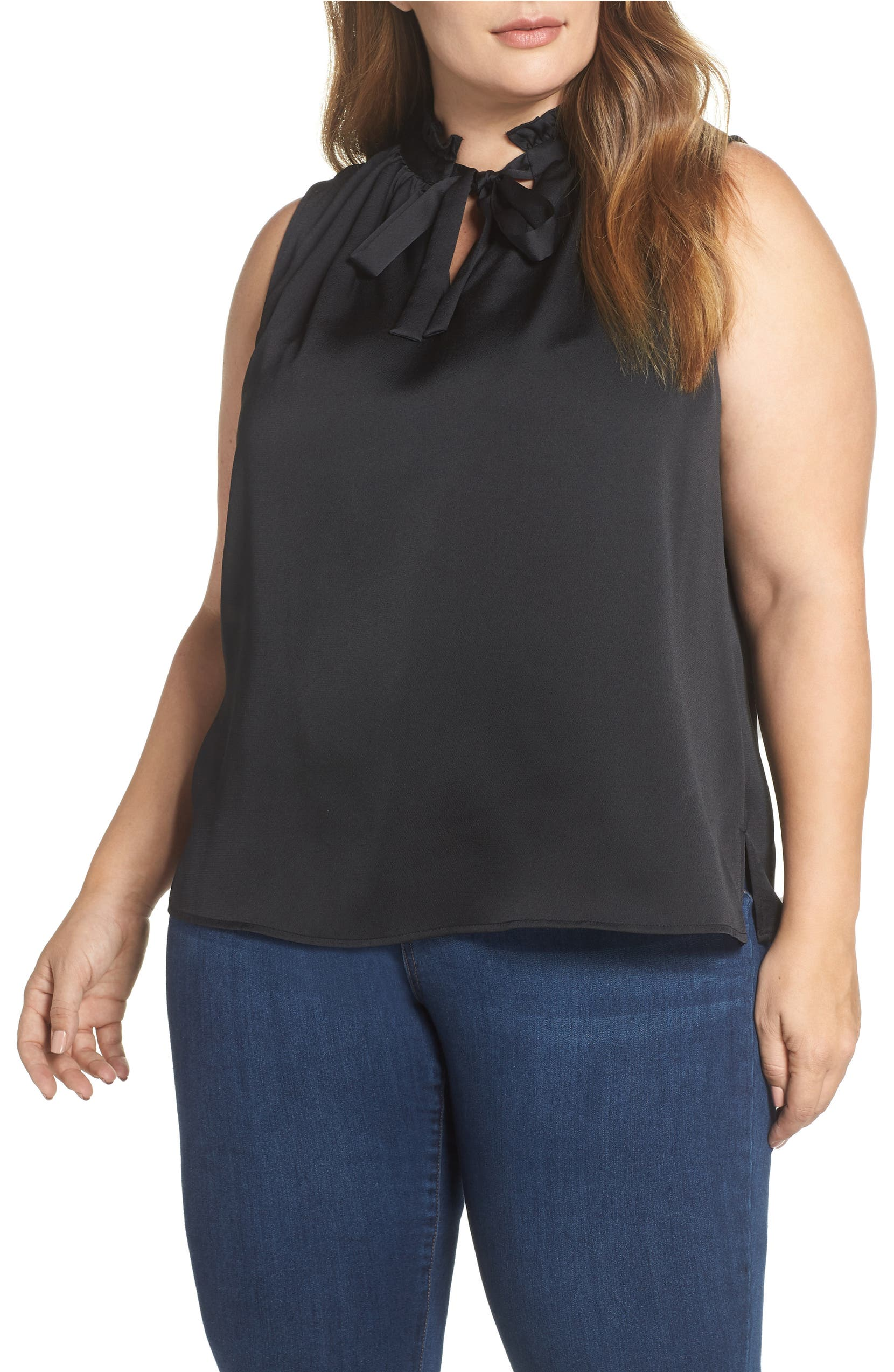 24c3cbd88f CeCe Ruffled Tie Neck Blouse (Plus Size)