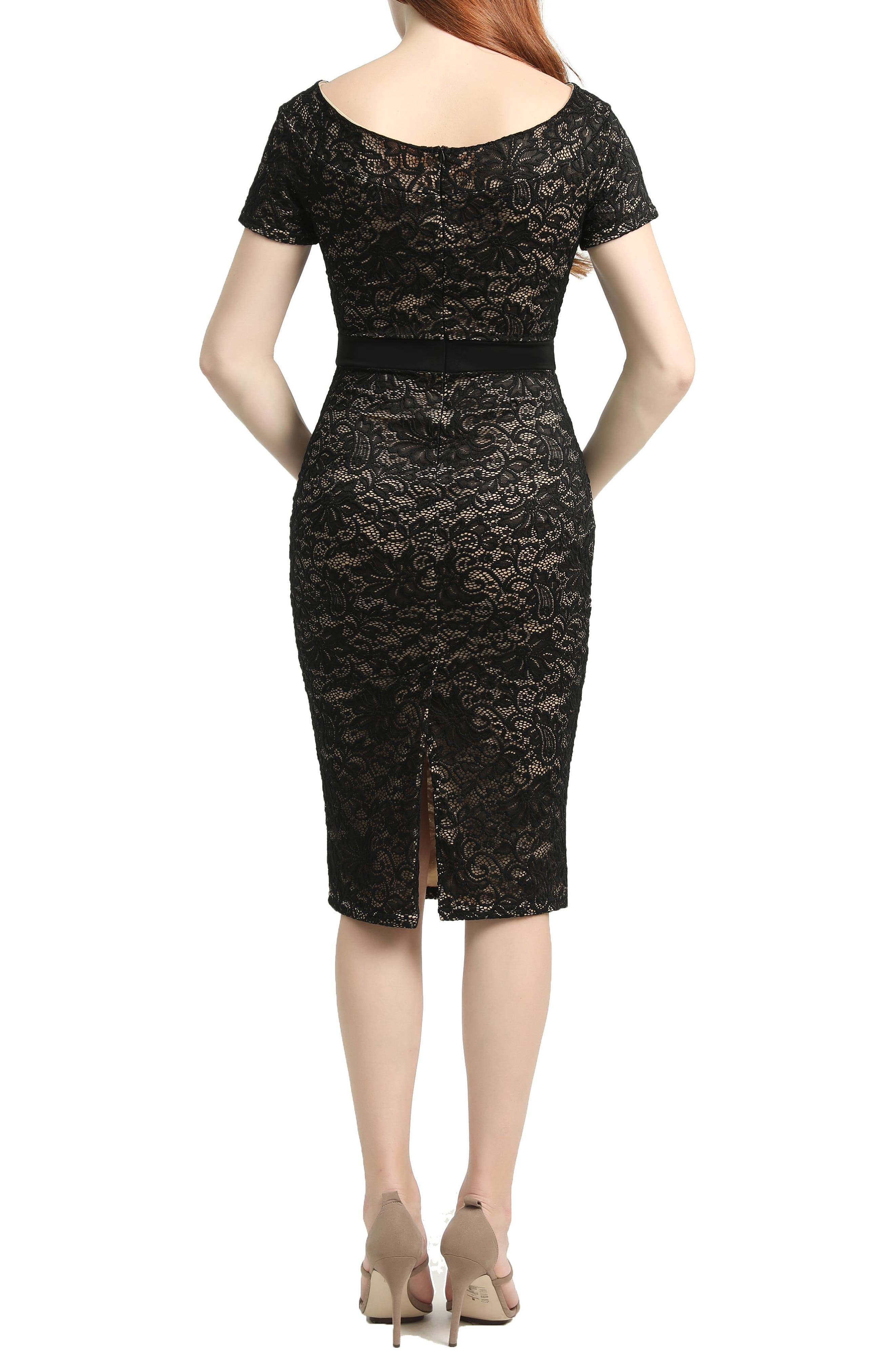 Kimi & Kai Lace Body-Con Maternity Dress,                             Alternate thumbnail 2, color,                             BLACK