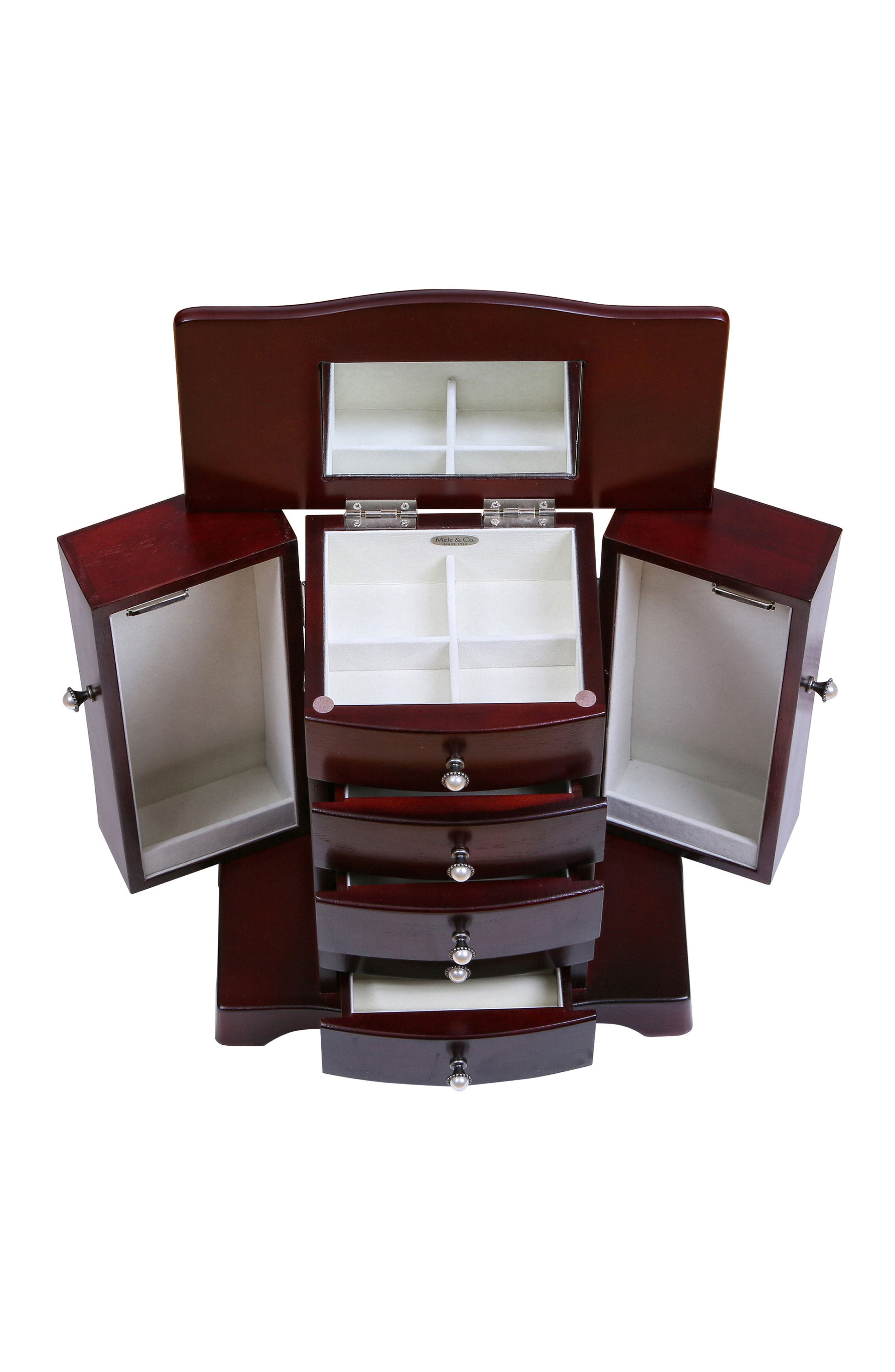 Bette Wooden Jewelry Box,                             Alternate thumbnail 4, color,                             BROWN