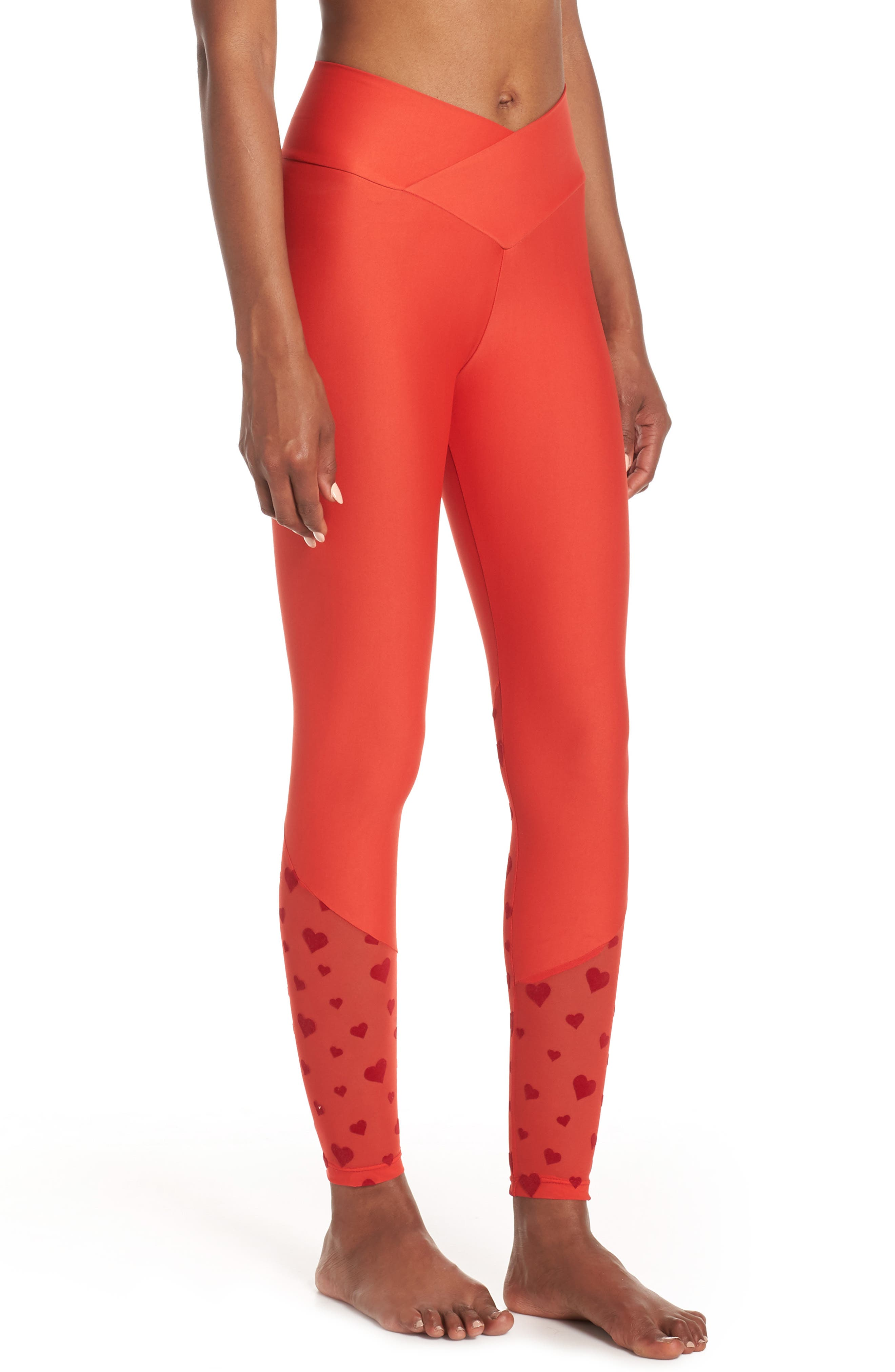 BEACH RIOT,                             Beach Leggings,                             Alternate thumbnail 4, color,                             RED HEART