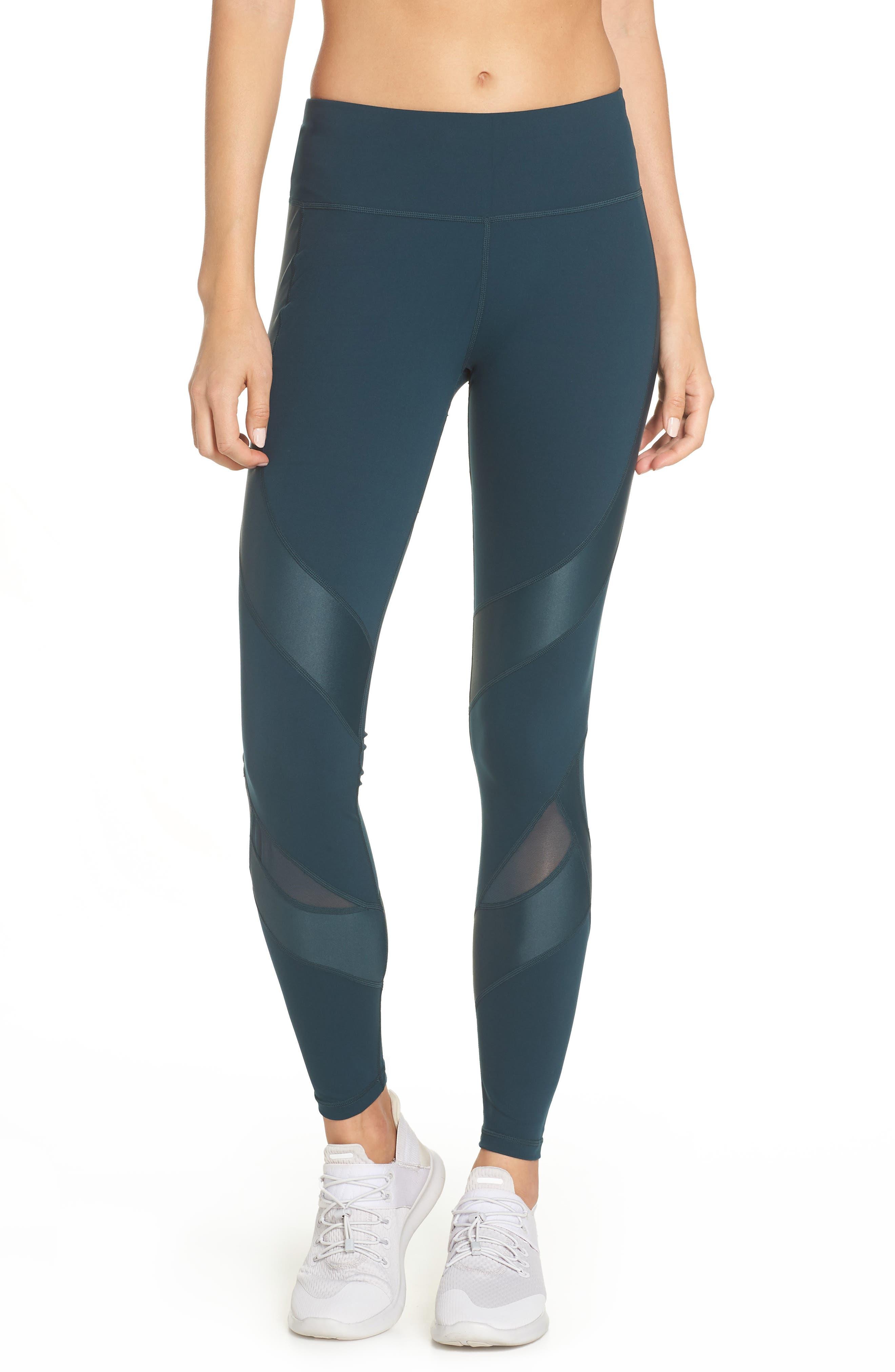 Power Wetlook Mesh Workout Leggings,                         Main,                         color, MIDNIGHT TEAL