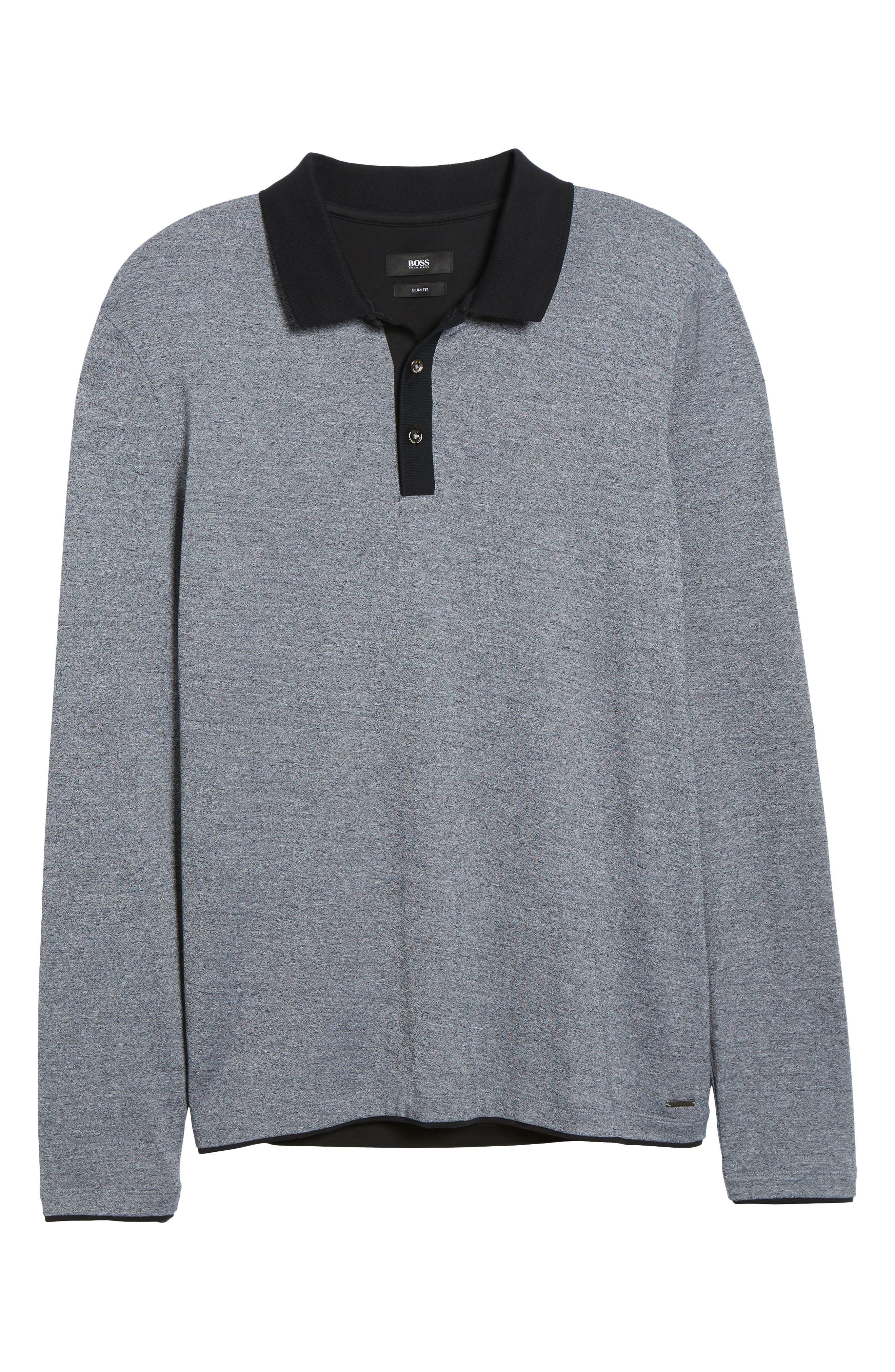 Paschal Mouline Slim Fit Polo Shirt,                             Alternate thumbnail 6, color,                             001
