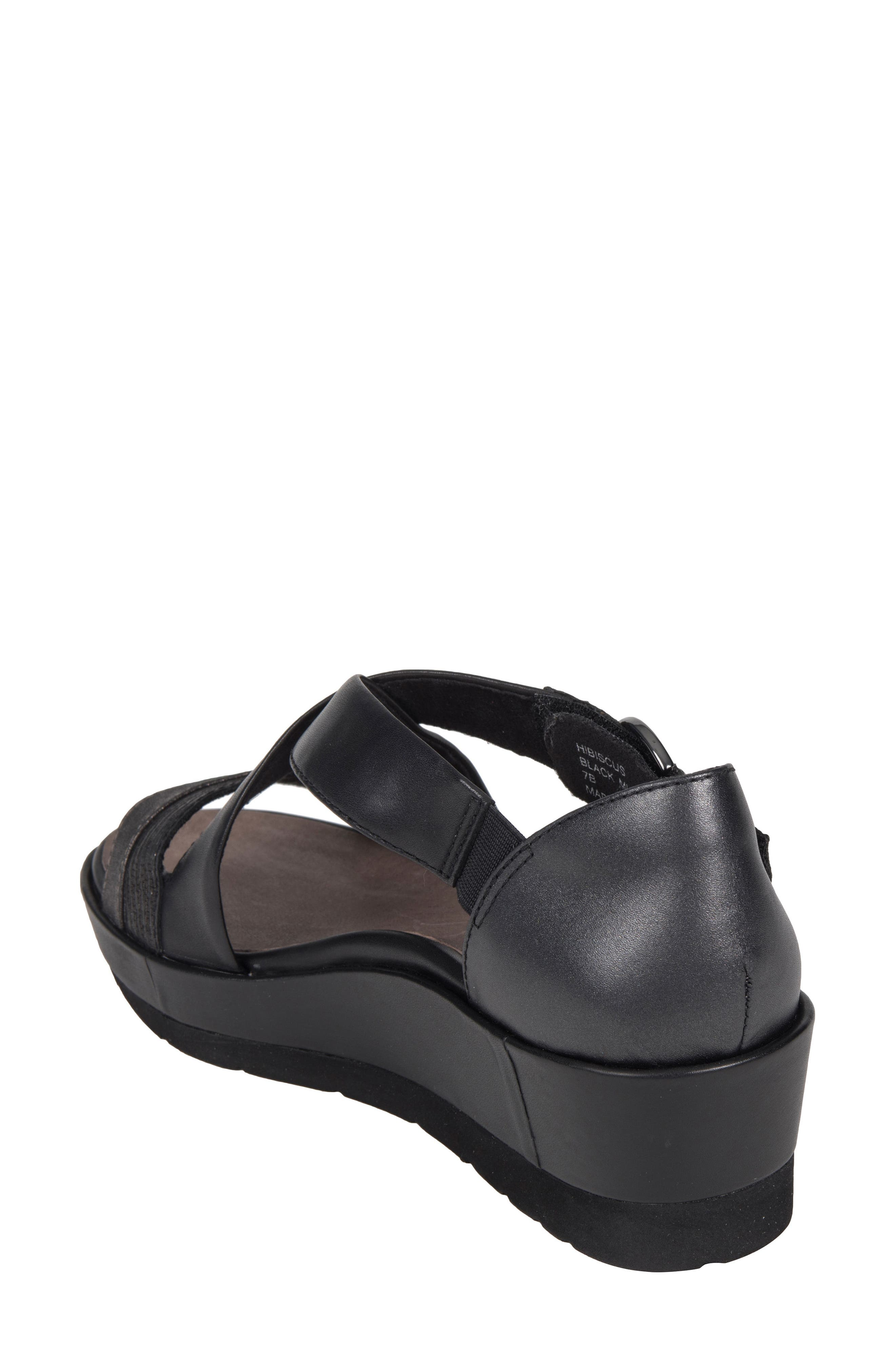 Hibiscus Sandal,                             Alternate thumbnail 2, color,                             BLACK LEATHER