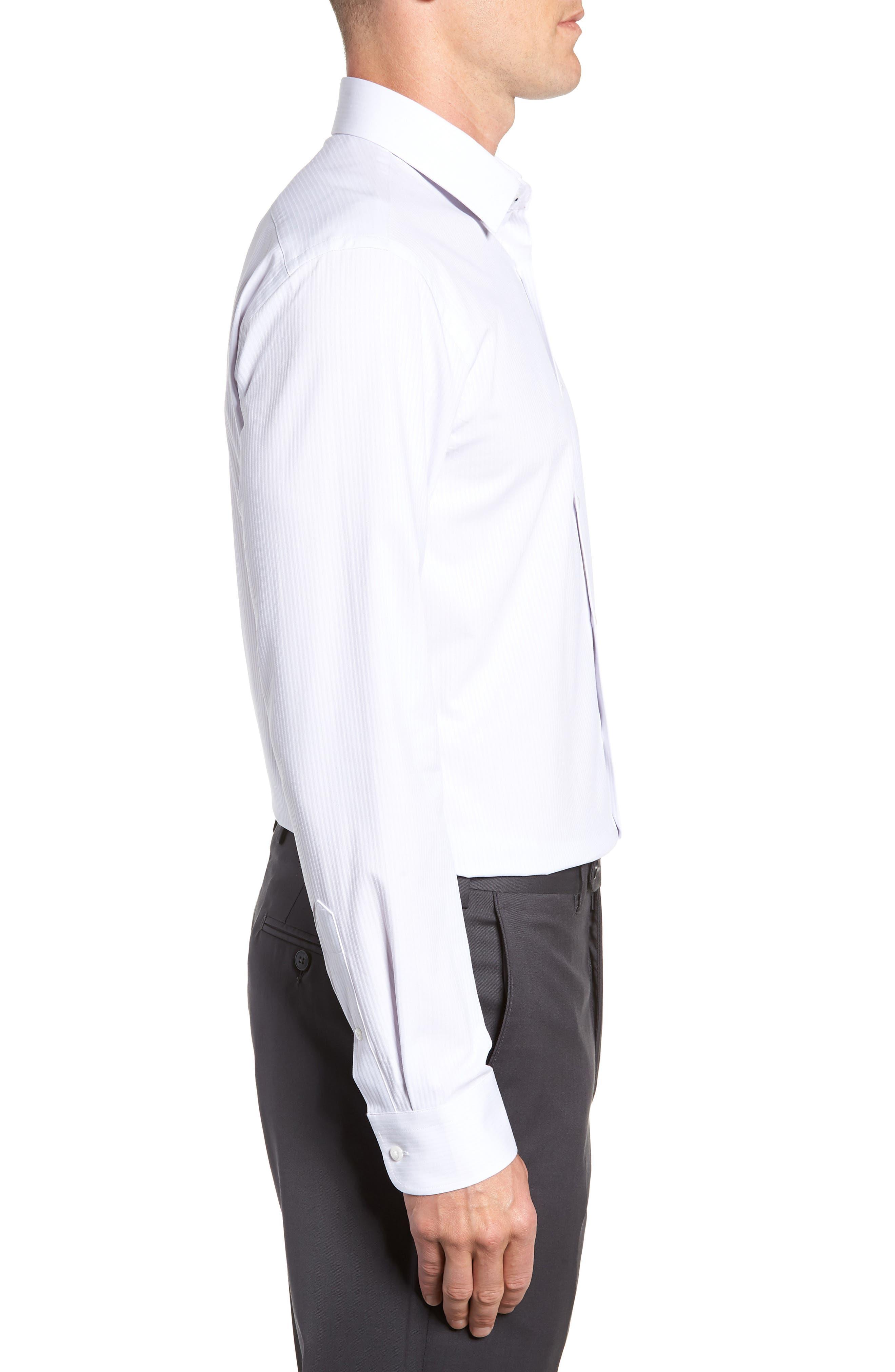 NORDSTROM MEN'S SHOP,                             Tech-Smart Trim Fit Stretch Stripe Dress Shirt,                             Alternate thumbnail 4, color,                             050