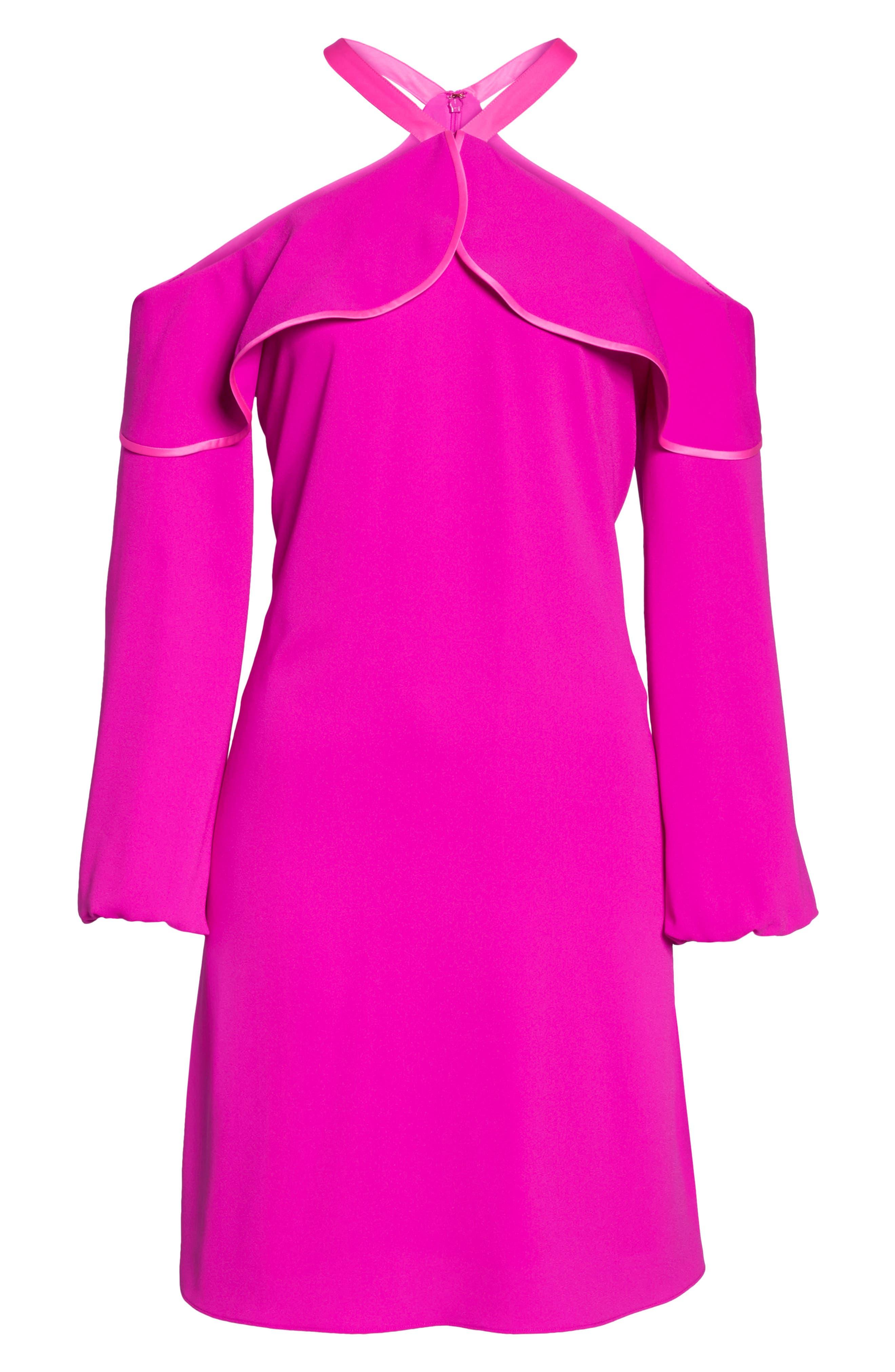 Abrielle Ruffle A-Line Dress,                             Alternate thumbnail 7, color,                             BERRY SANGRIA