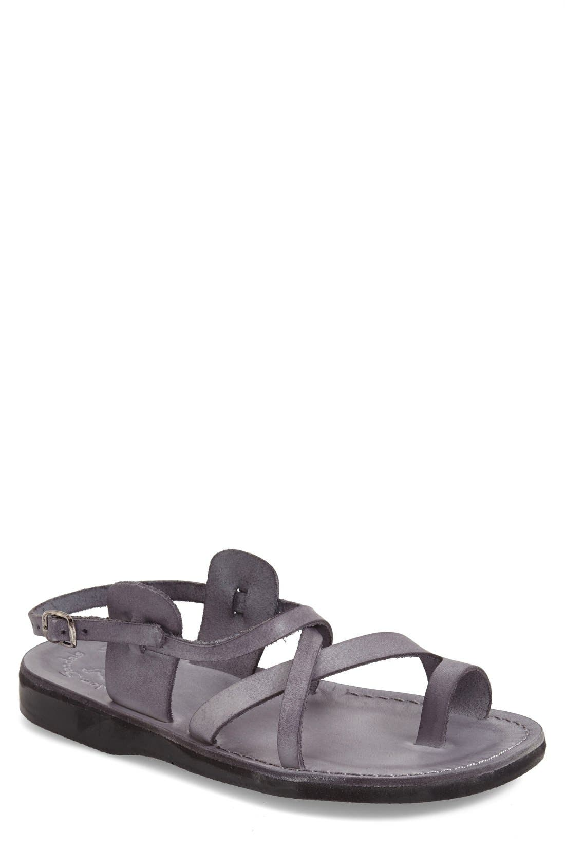 'The Good Shepherd' Leather Sandal,                         Main,                         color, GREY LEATHER