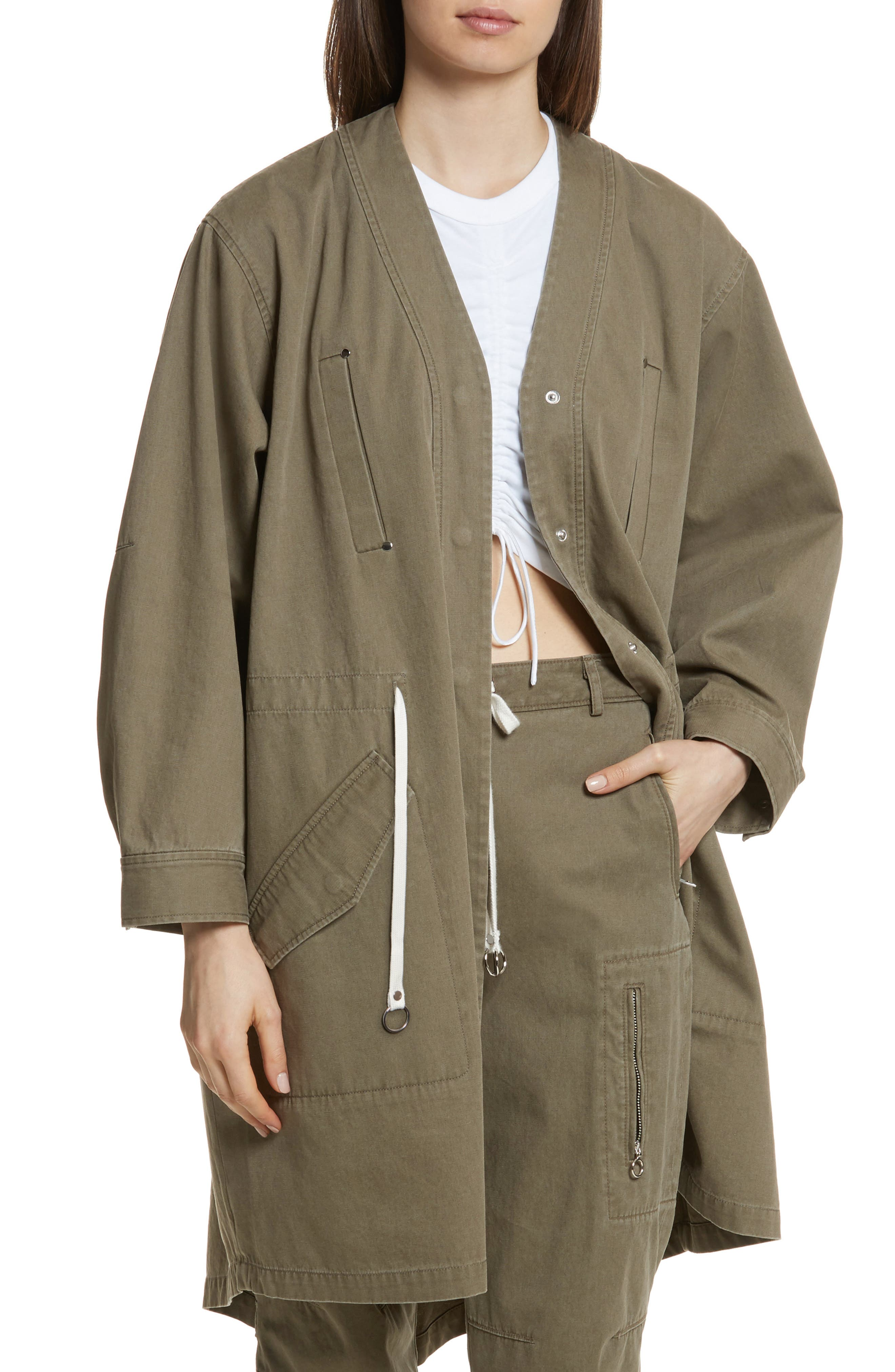T by Alexander Wang Longline Twill Jacket,                         Main,                         color, 309