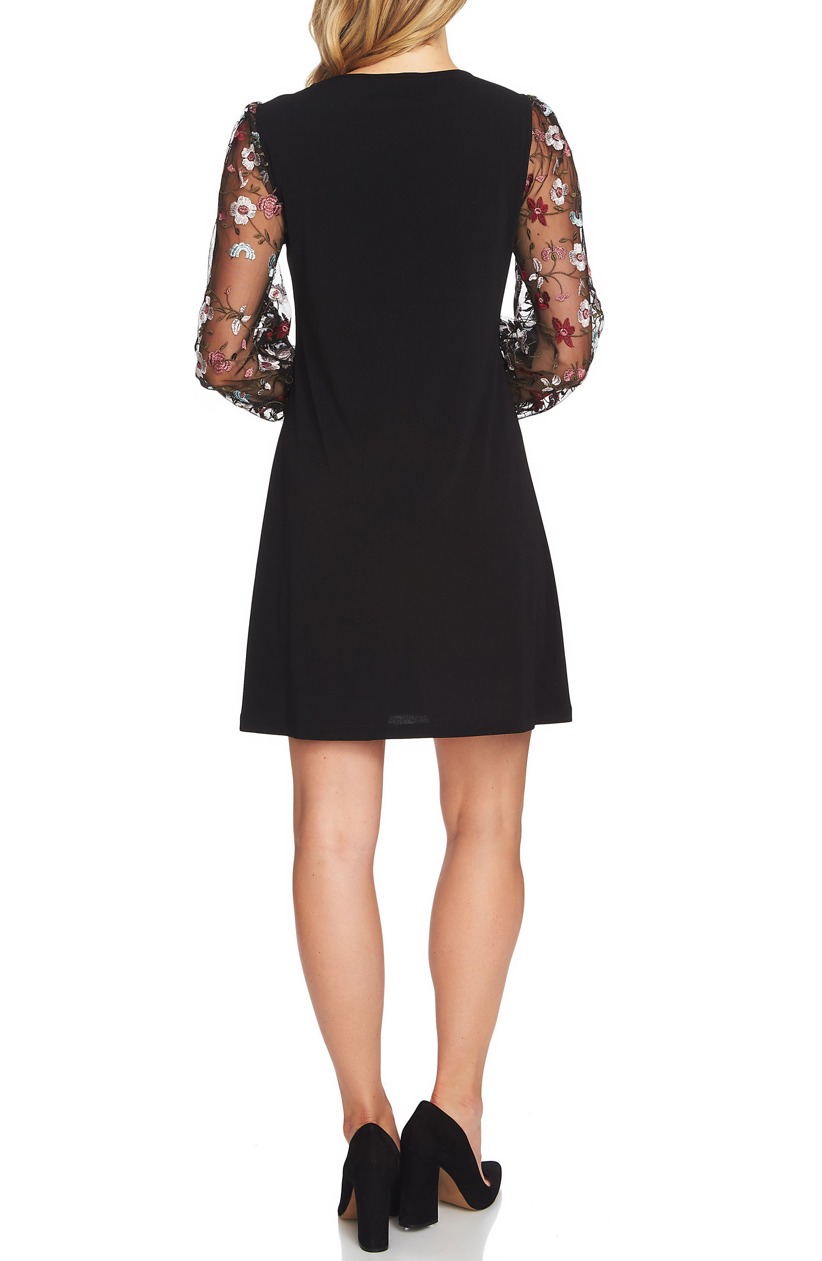 Embroidered Sleeve A-Line Dress,                             Alternate thumbnail 2, color,                             001