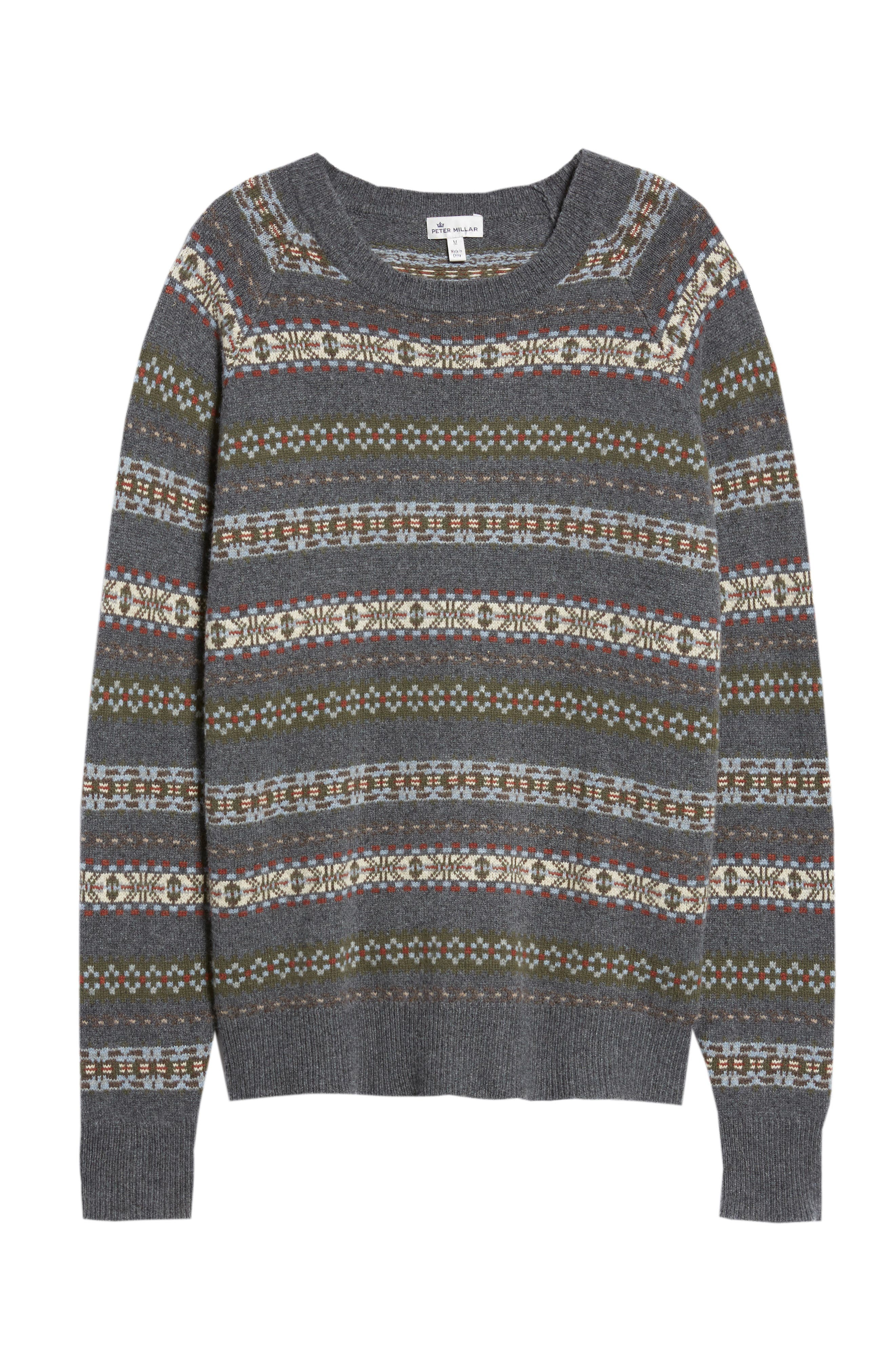 PETER MILLAR,                             Mountainside Fair Isle Crewneck Sweater,                             Alternate thumbnail 6, color,                             BLACK
