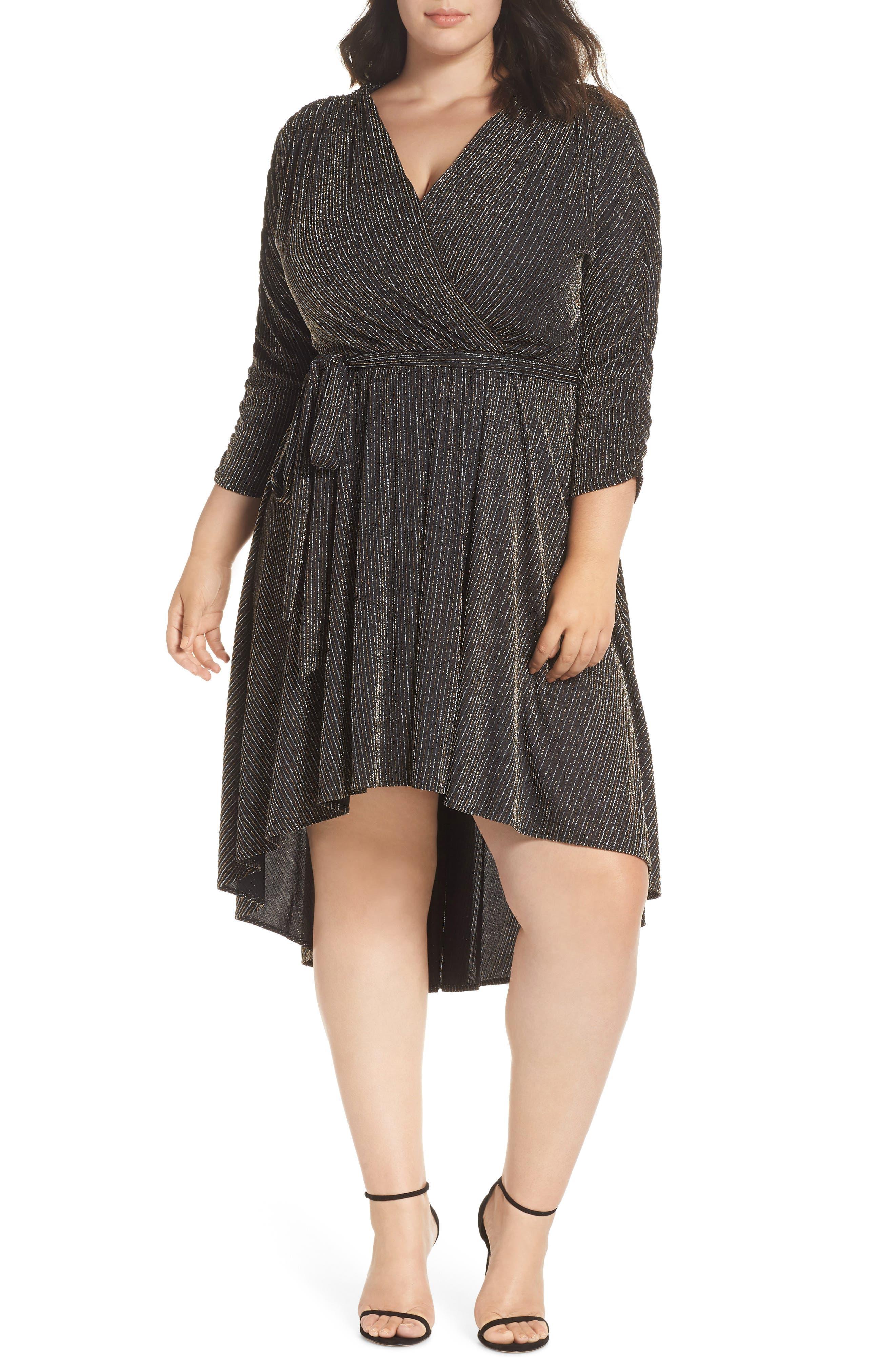 Metallic Tie Waist Dress,                         Main,                         color, BLACK SPARKLE PINSTRIPE