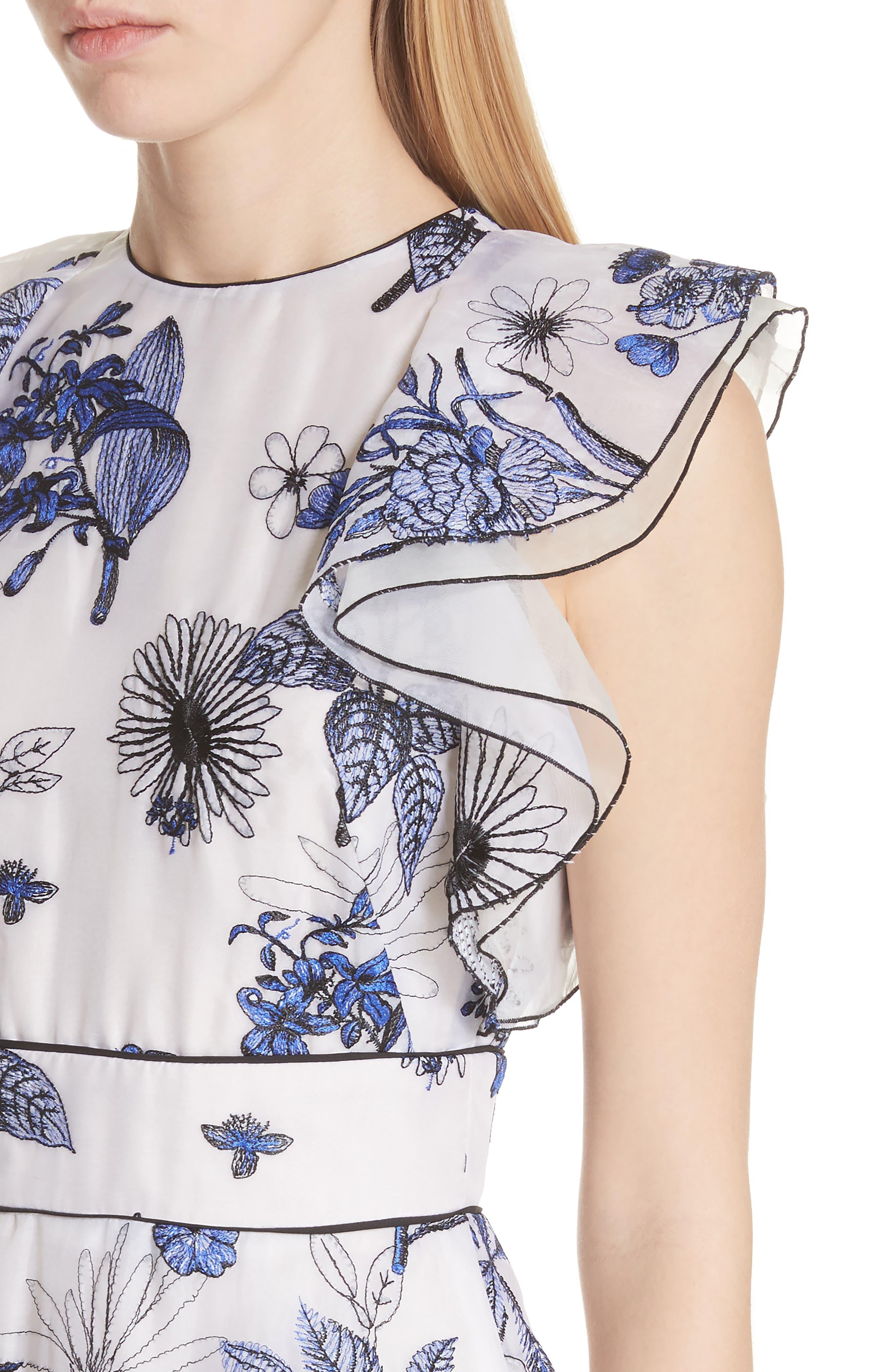 Embroidered Silk Ruffle Midi Dress,                             Alternate thumbnail 4, color,                             400