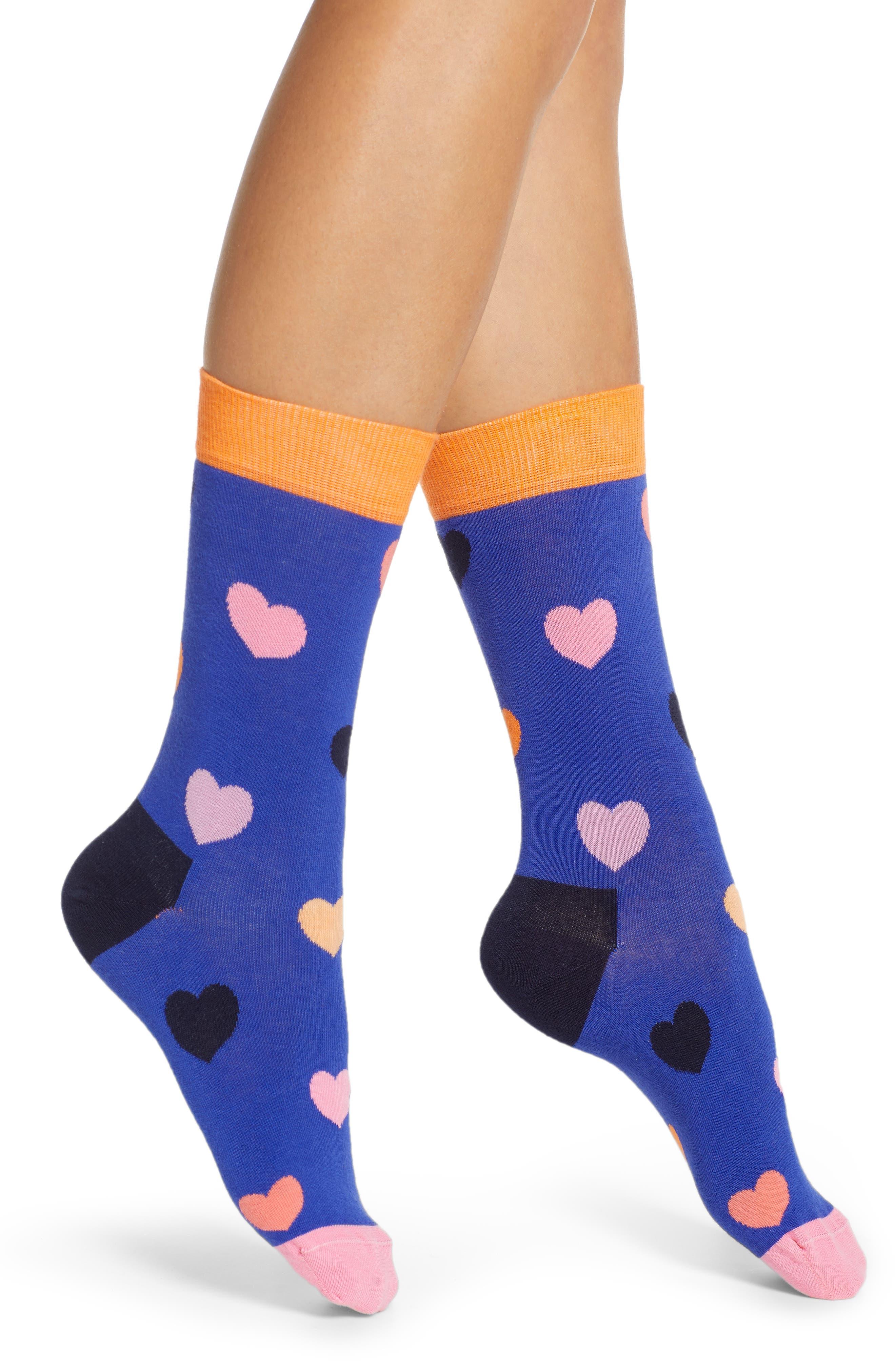 Heart Crew Socks, Main, color, BLUE COMBO