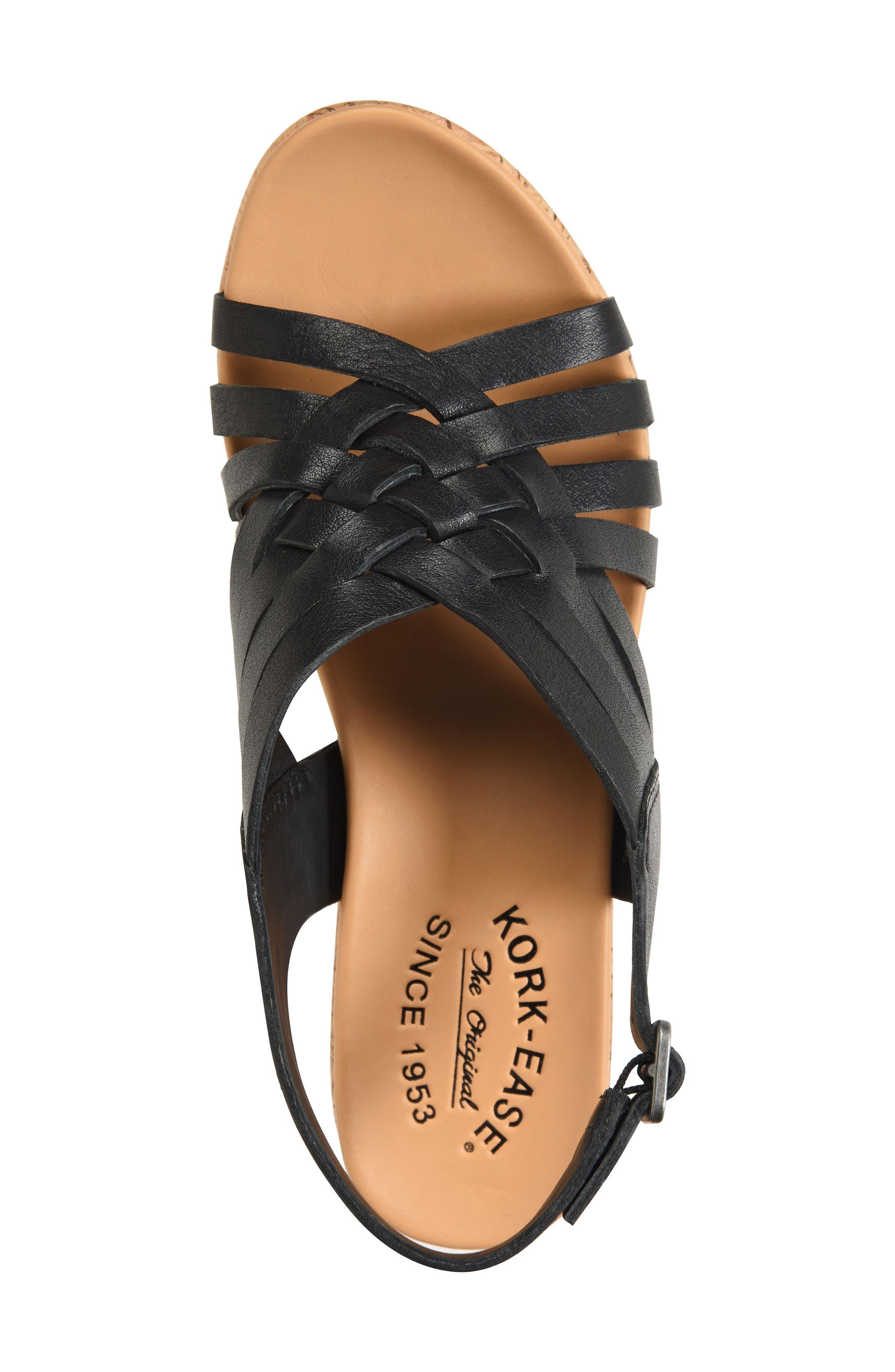 Adelanto Wedge Sandal,                             Alternate thumbnail 5, color,                             BLACK LEATHER