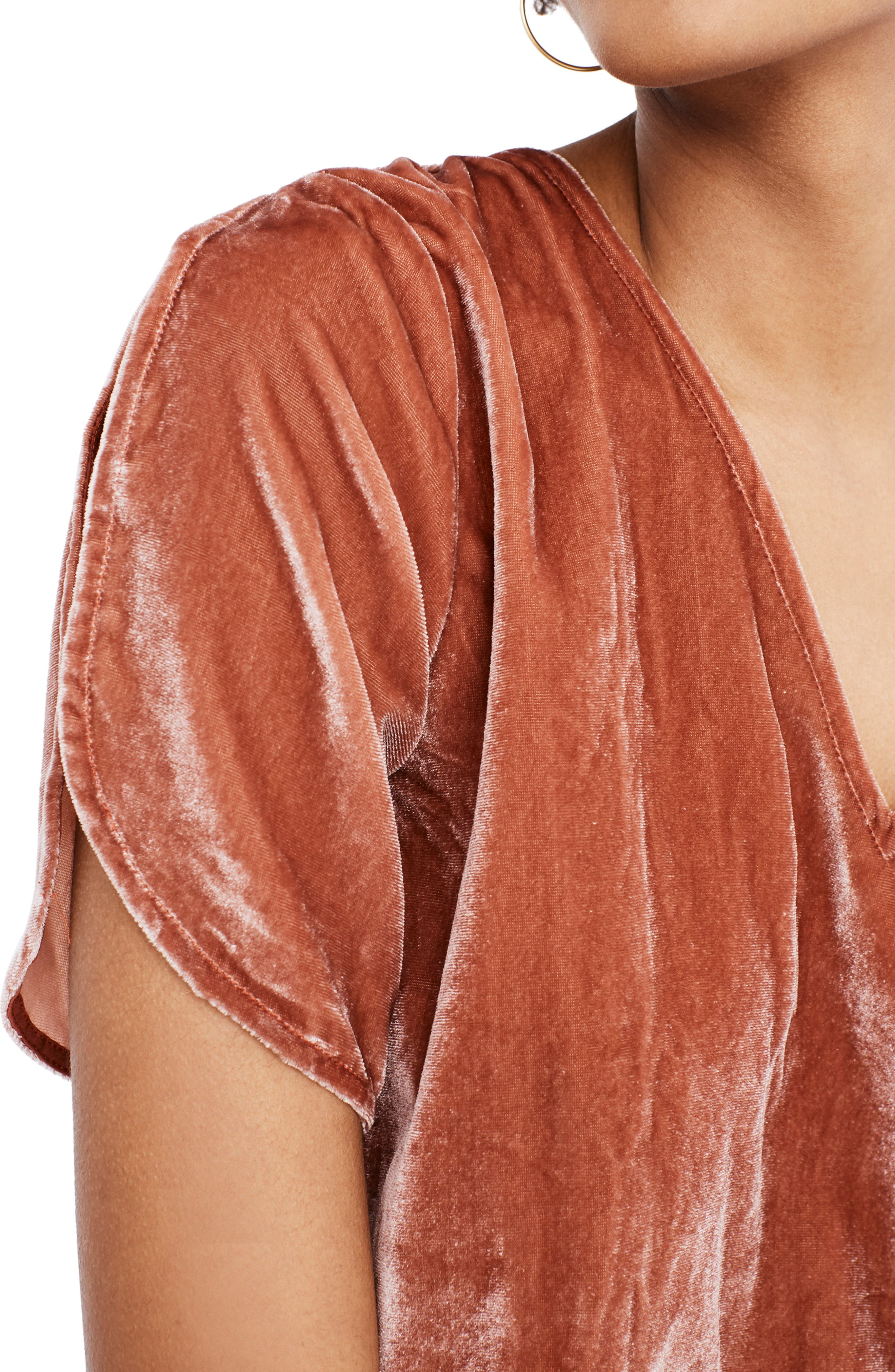 Ruffle Tulip Sleeve Velvet Top,                             Alternate thumbnail 5, color,                             AFTERGLOW RED