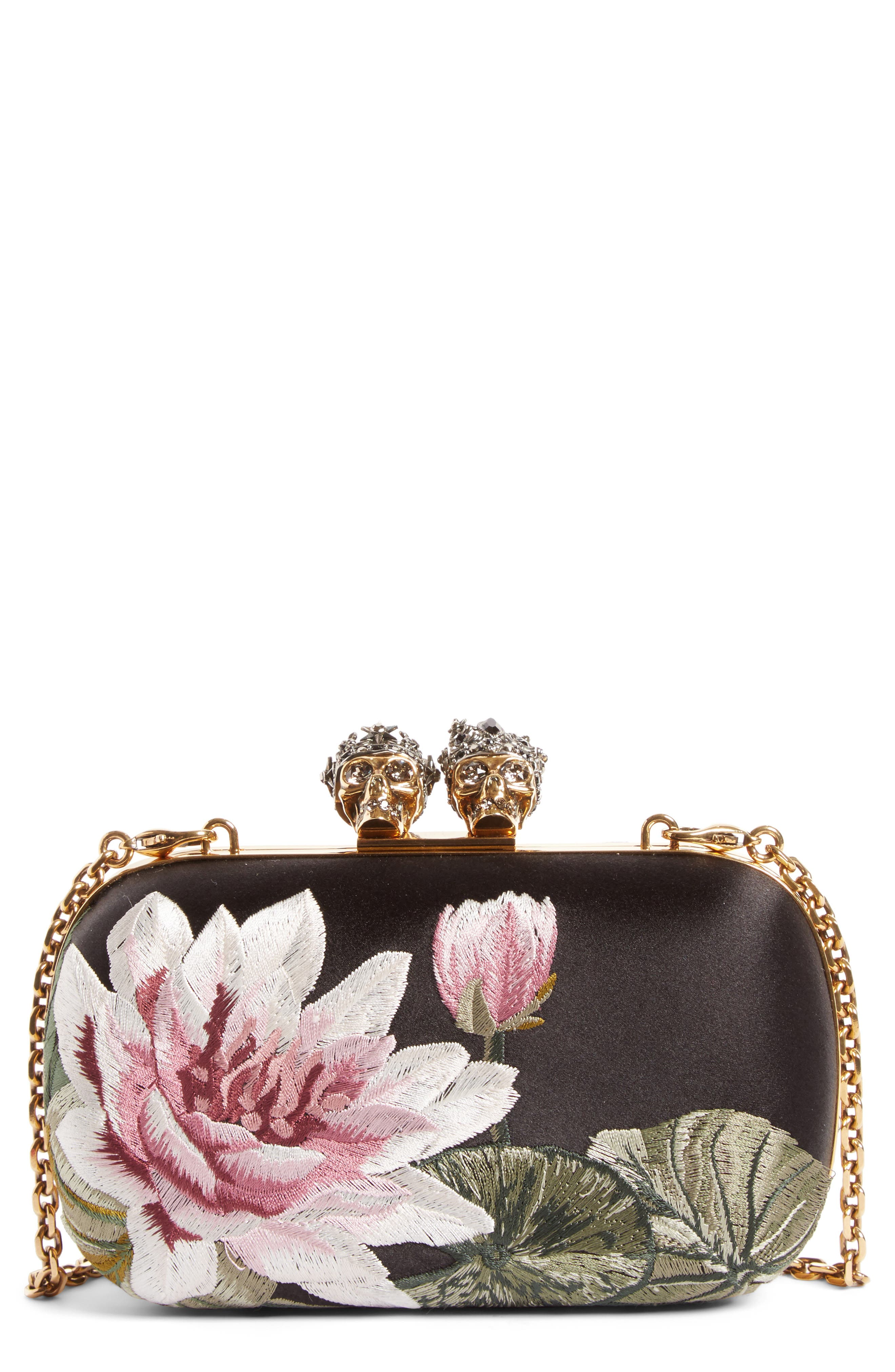 Queen & King Embroidered Satin Clutch,                             Main thumbnail 1, color,                             964
