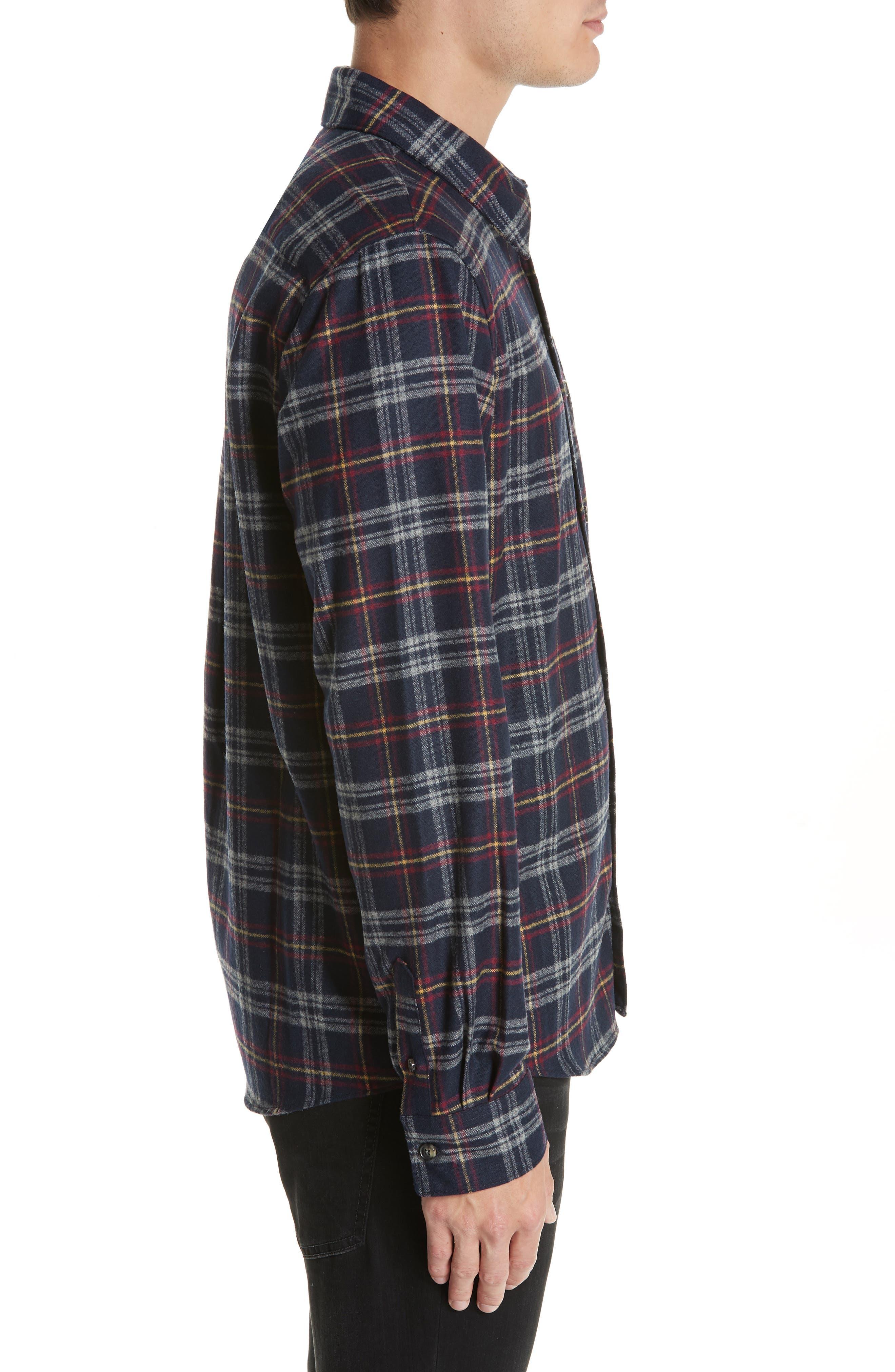 Check Flannel Shirt,                             Alternate thumbnail 4, color,                             IAK NAVY