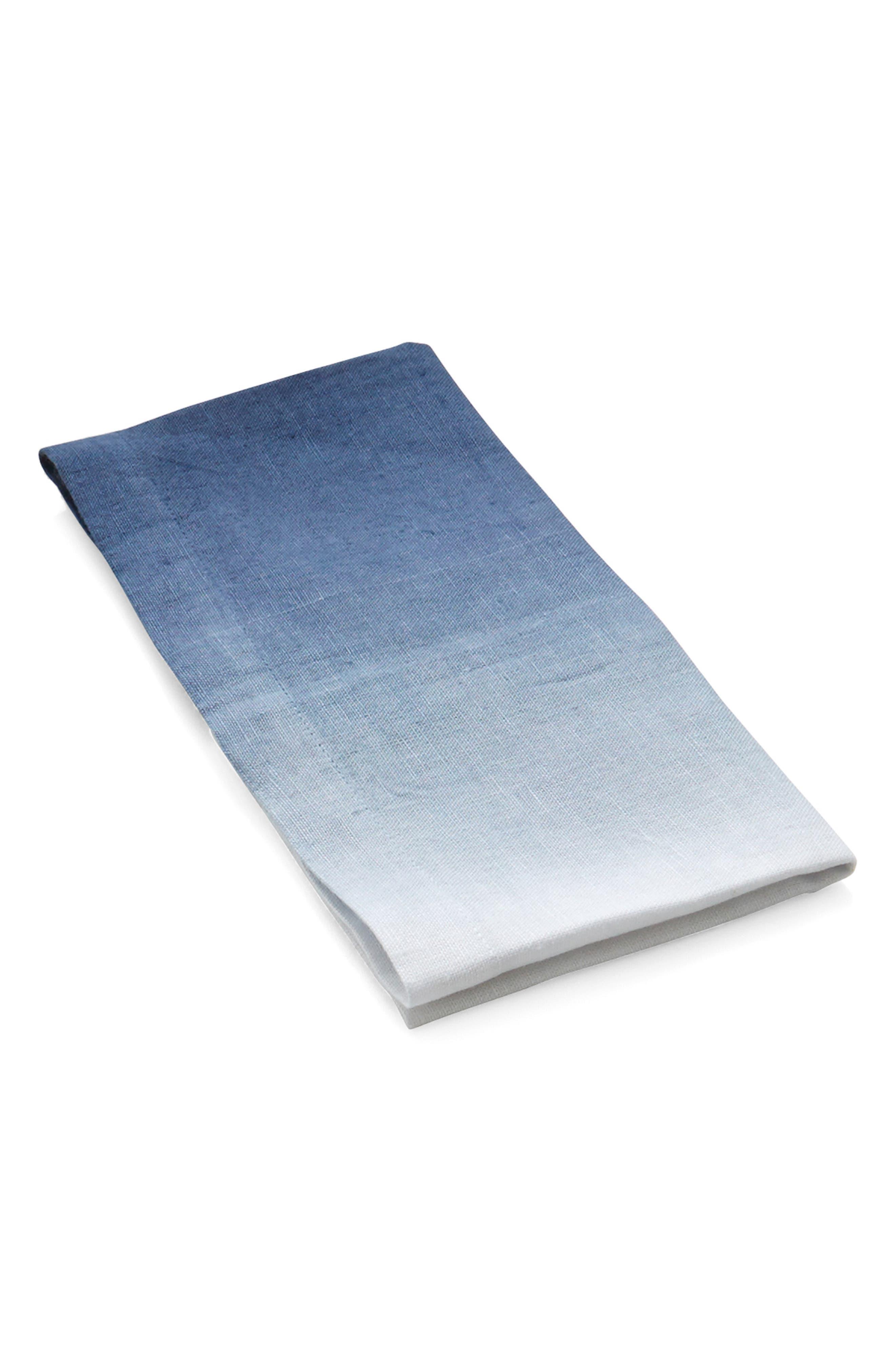 Set of 4 Ombré Linen Napkins, Main, color, BLUE