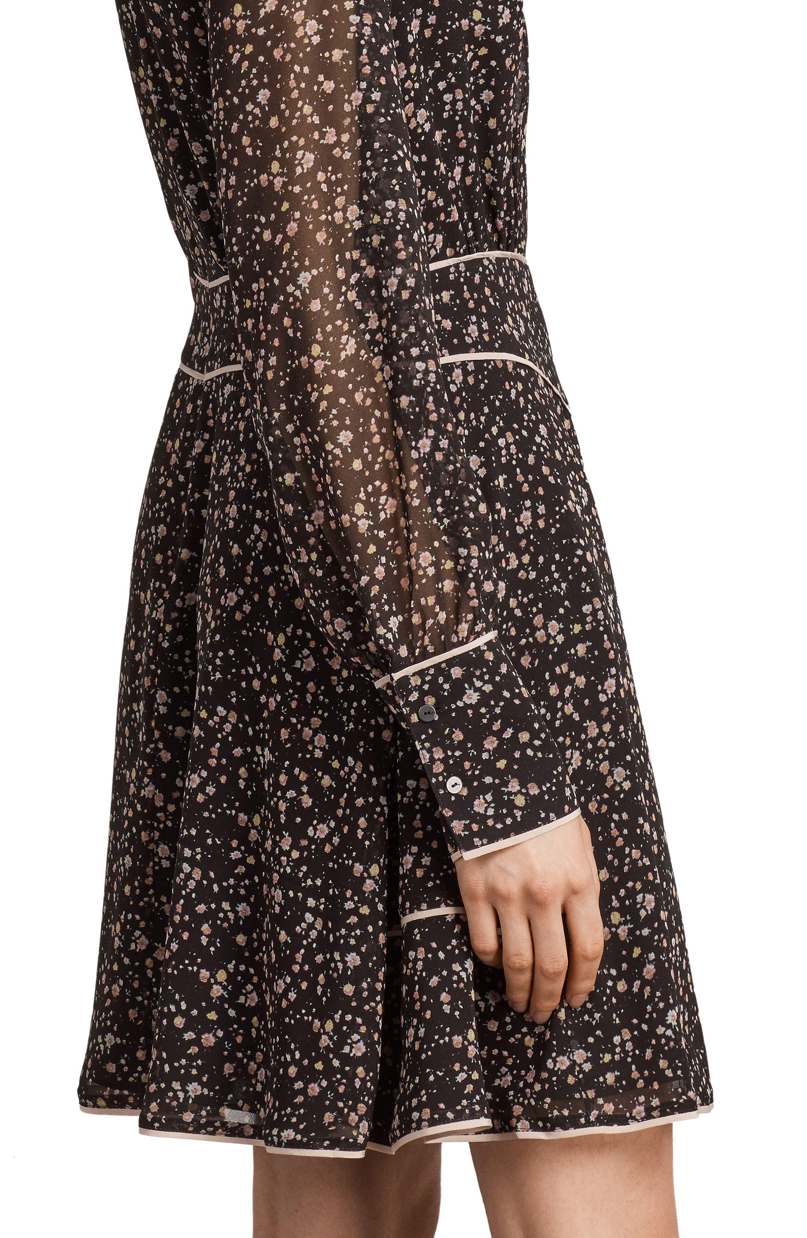 Kay Pepper Floral Print Dress,                             Alternate thumbnail 4, color,                             001