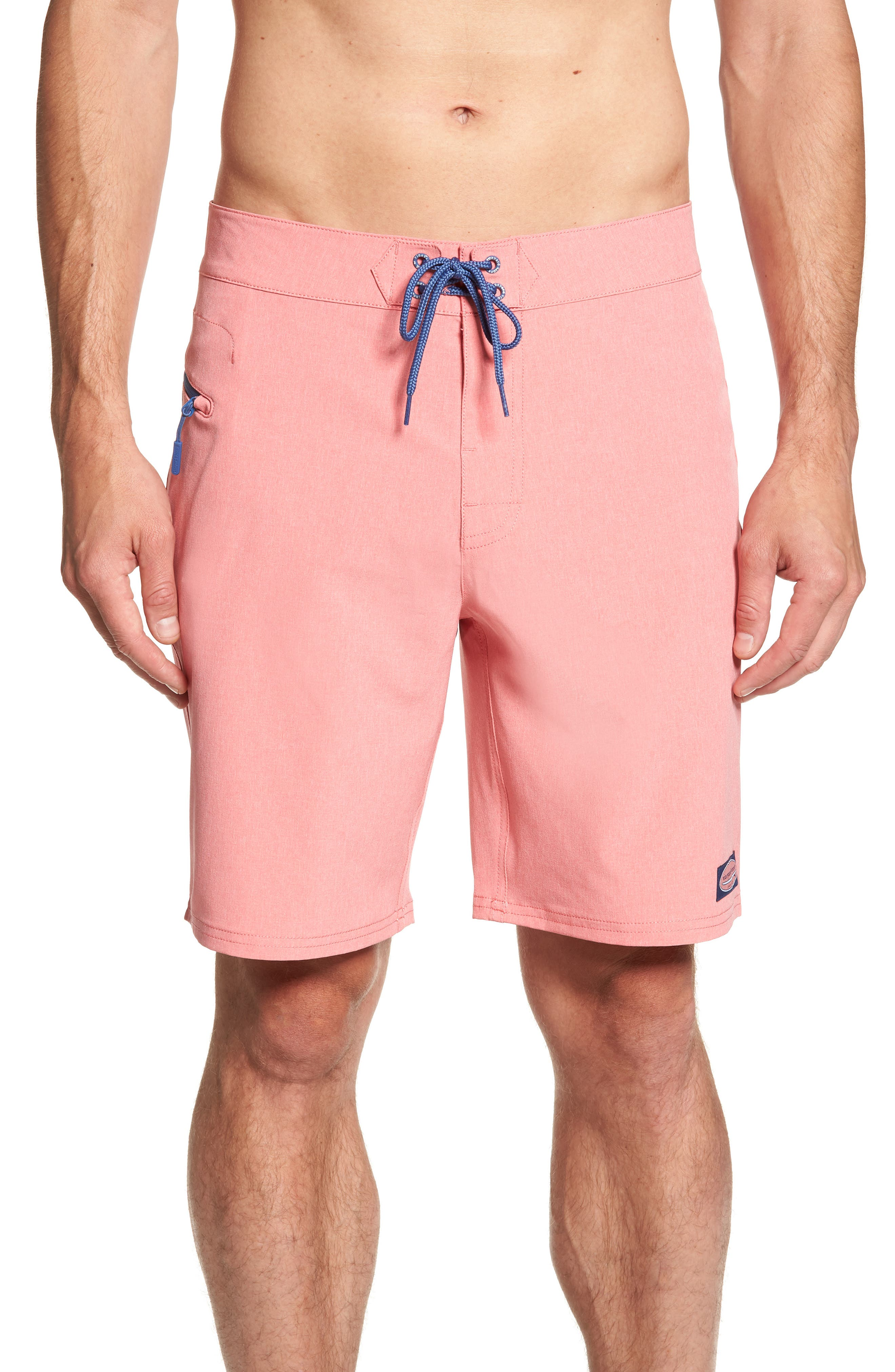 Heather Stretch Board Shorts,                         Main,                         color, LOBSTER REEF