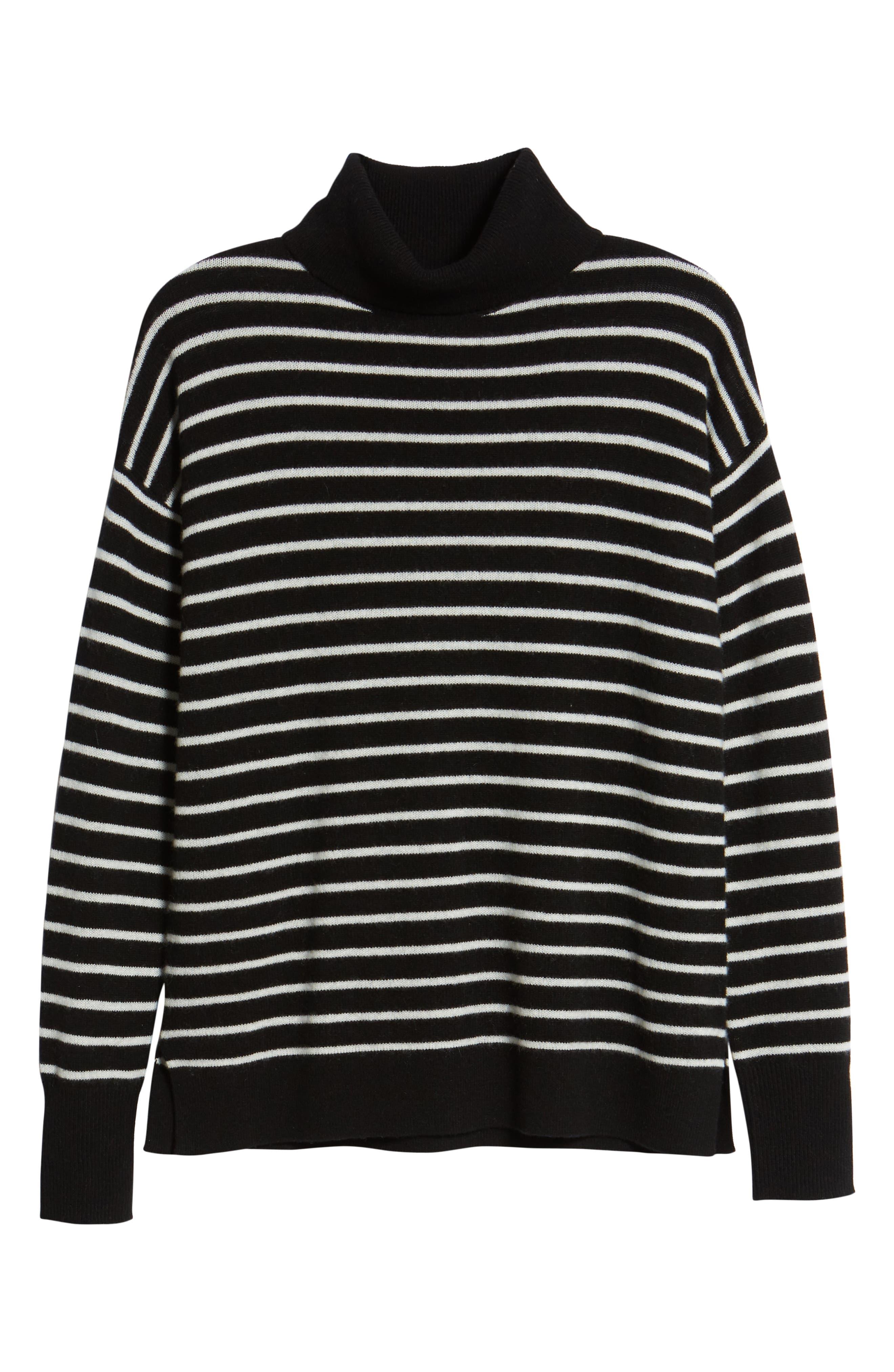Cashmere Turtleneck Sweater,                             Alternate thumbnail 6, color,                             BLACK- IVORY STRIPE