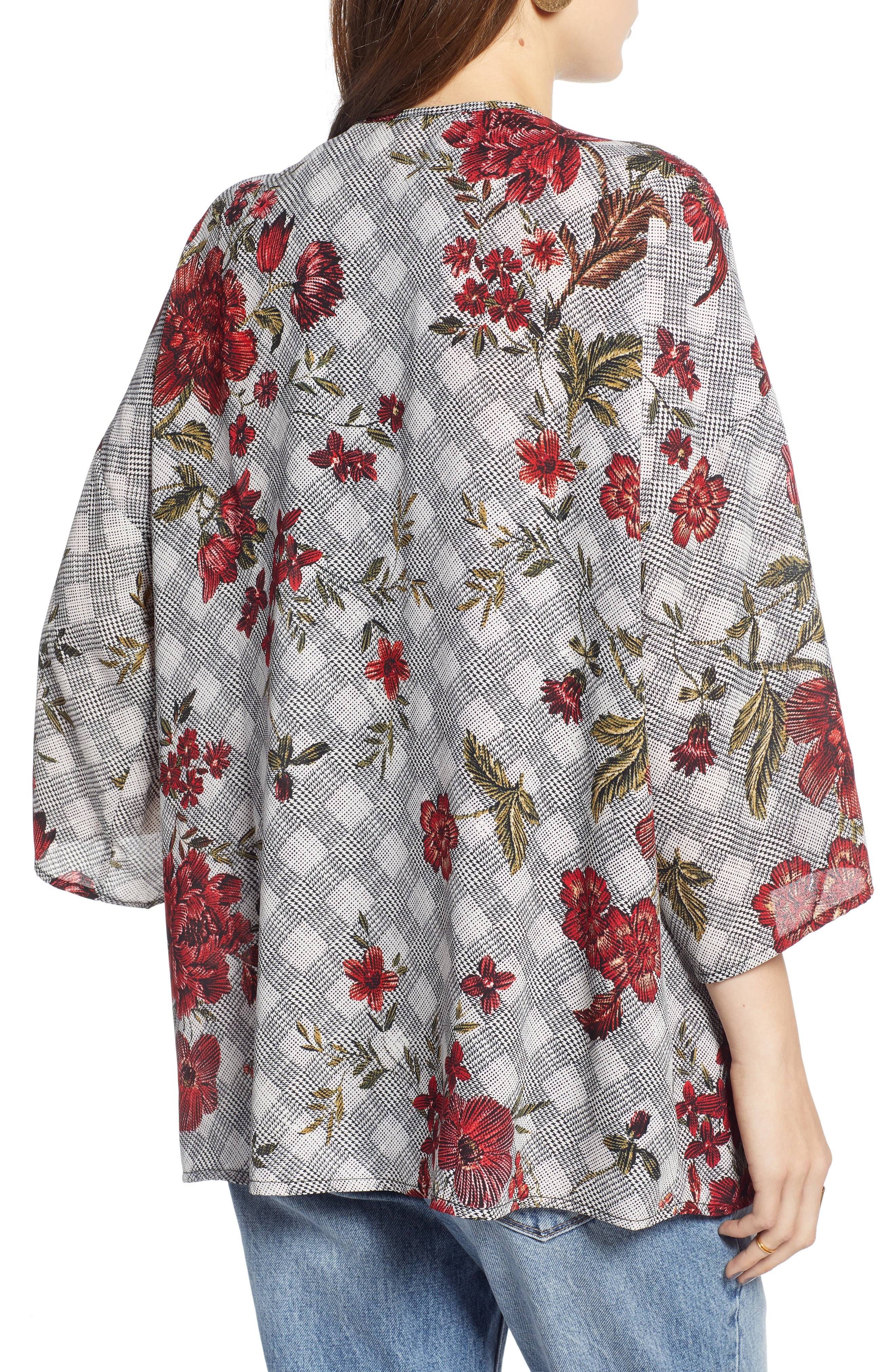 Floral & Glen Check Kimono,                             Alternate thumbnail 2, color,                             BLACK COMBO