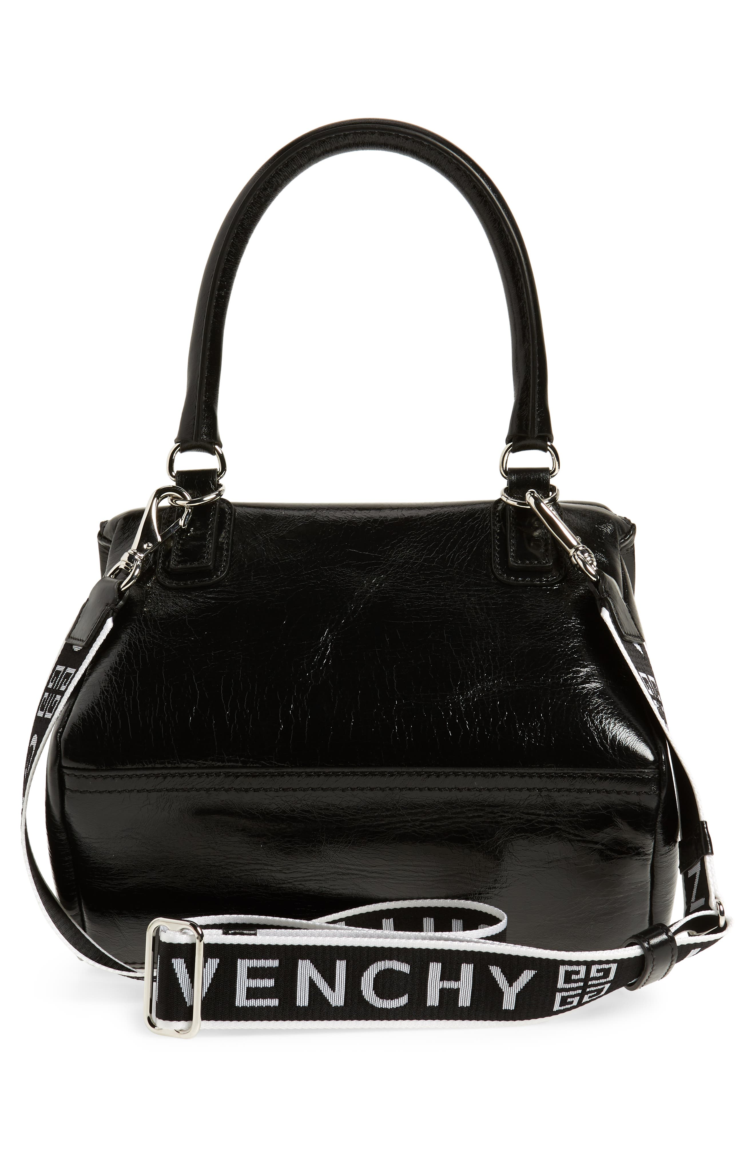 Small Pandora Leather Shoulder Bag,                             Alternate thumbnail 3, color,                             BLACK