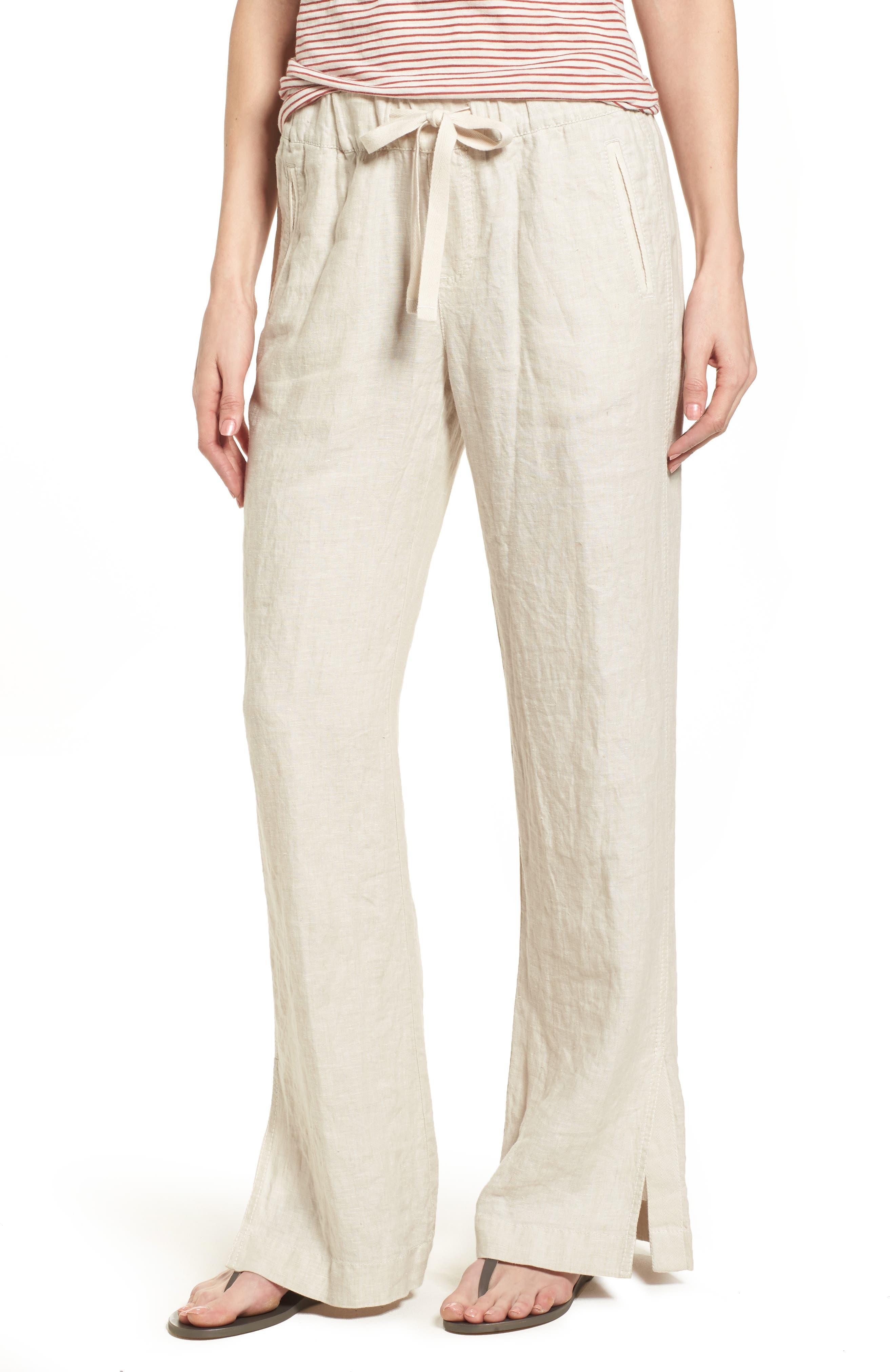 Linen Track Pants,                             Main thumbnail 3, color,
