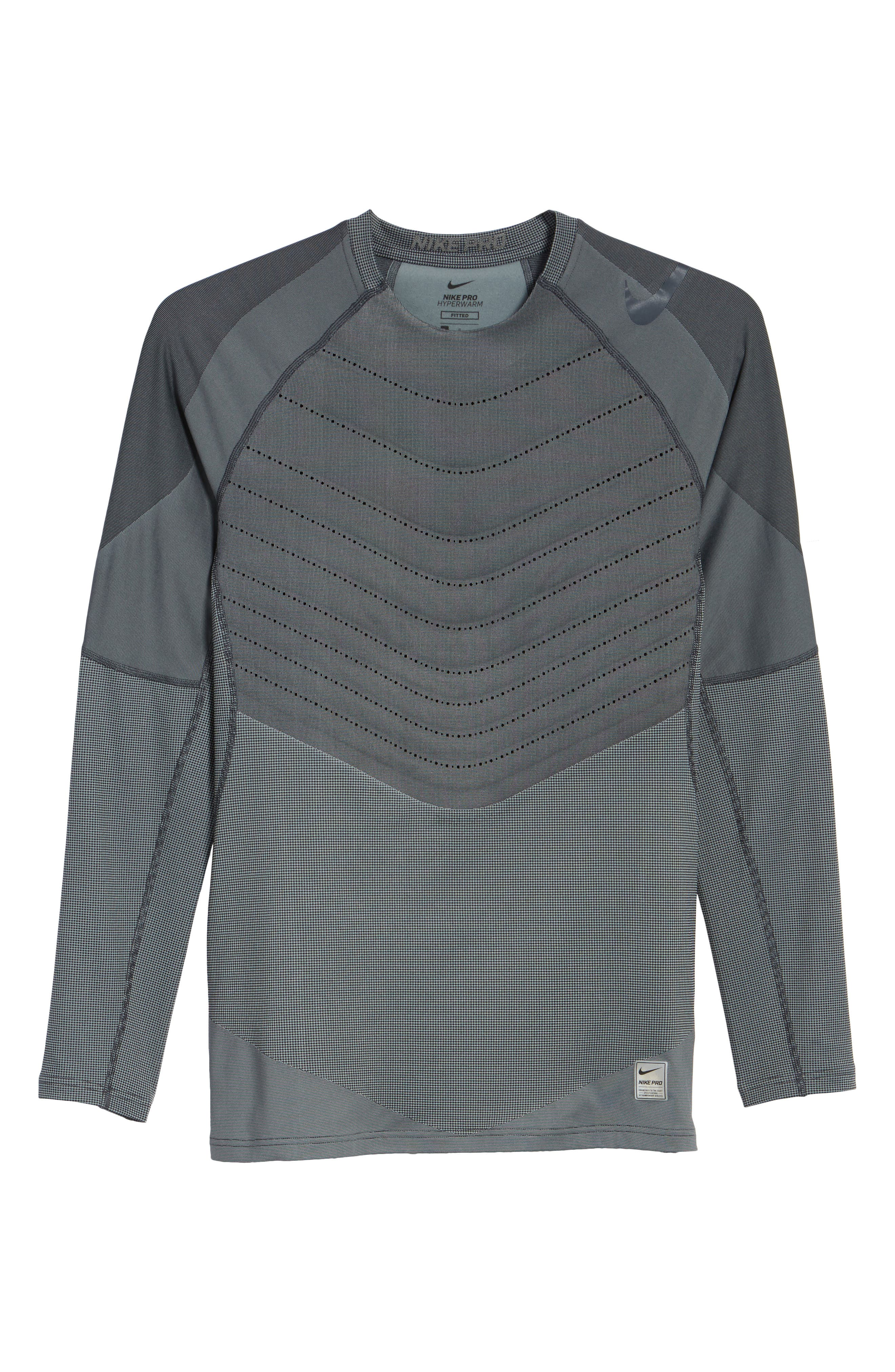 Pro AeroLoft Long Sleeve Fitted T-Shirt,                             Alternate thumbnail 6, color,                             010