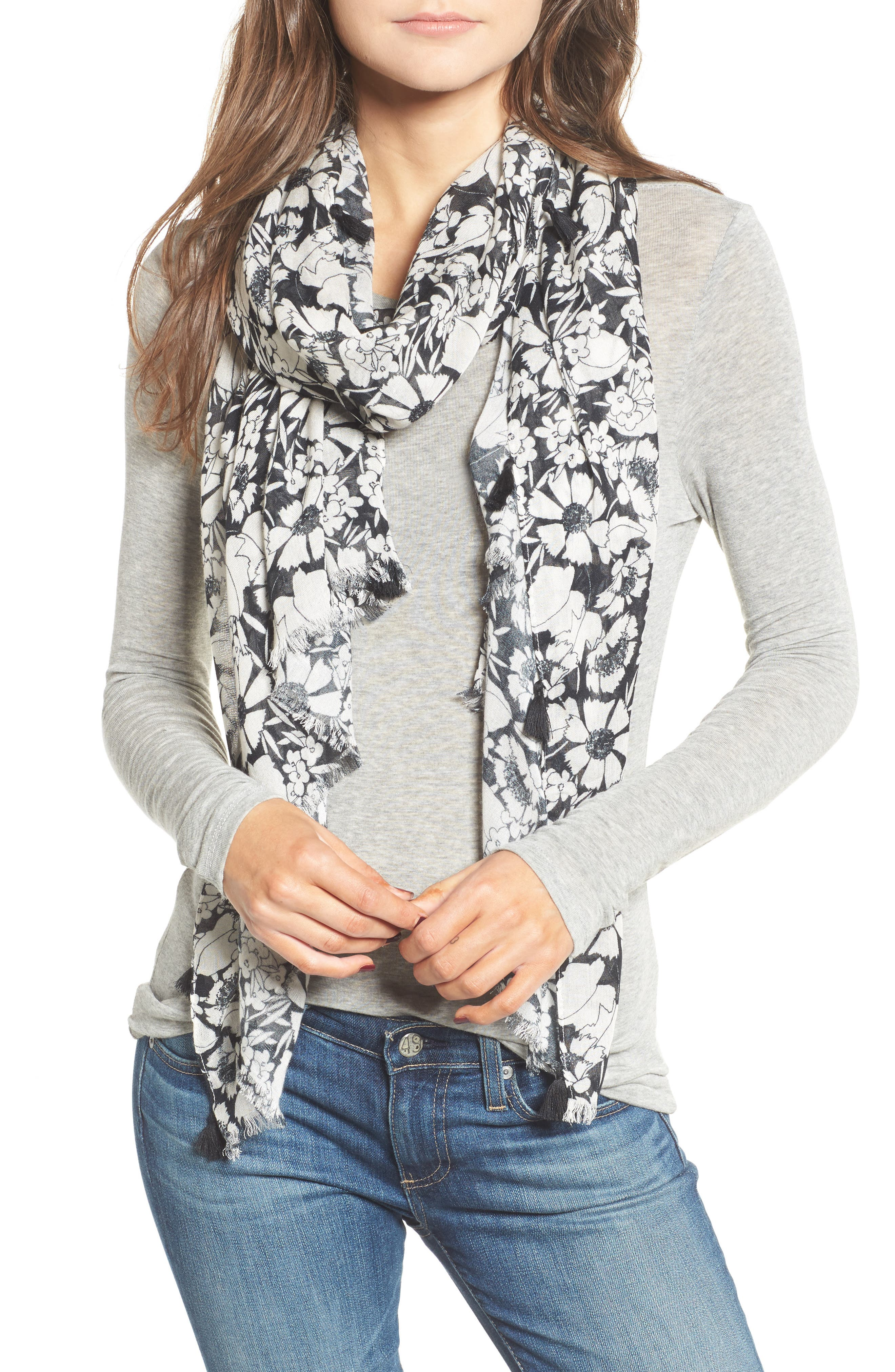 Beach Flower Tasseled Scarf,                         Main,                         color, 001