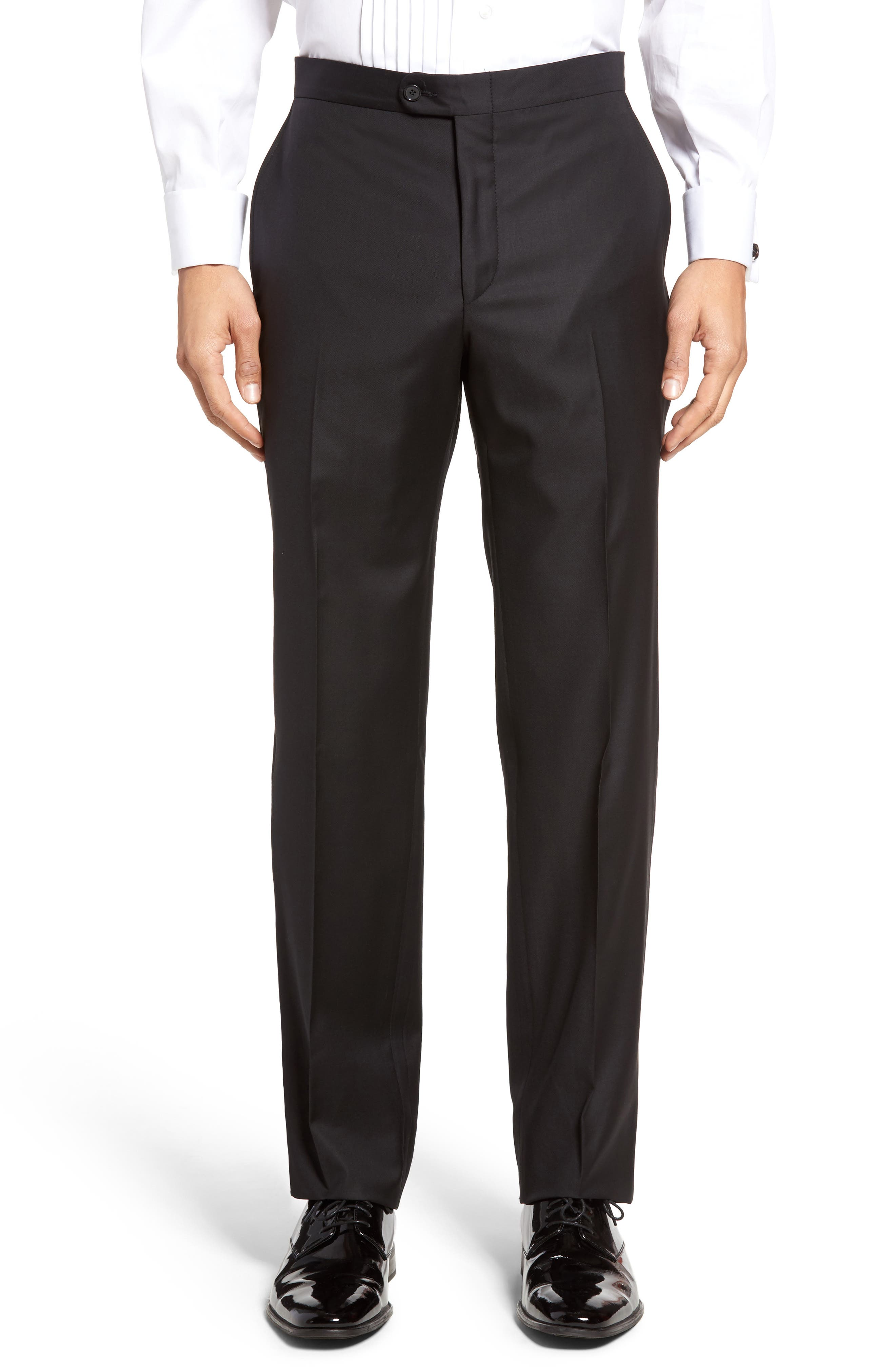 Classic B Fit Wool Tuxedo,                             Alternate thumbnail 6, color,                             BLACK