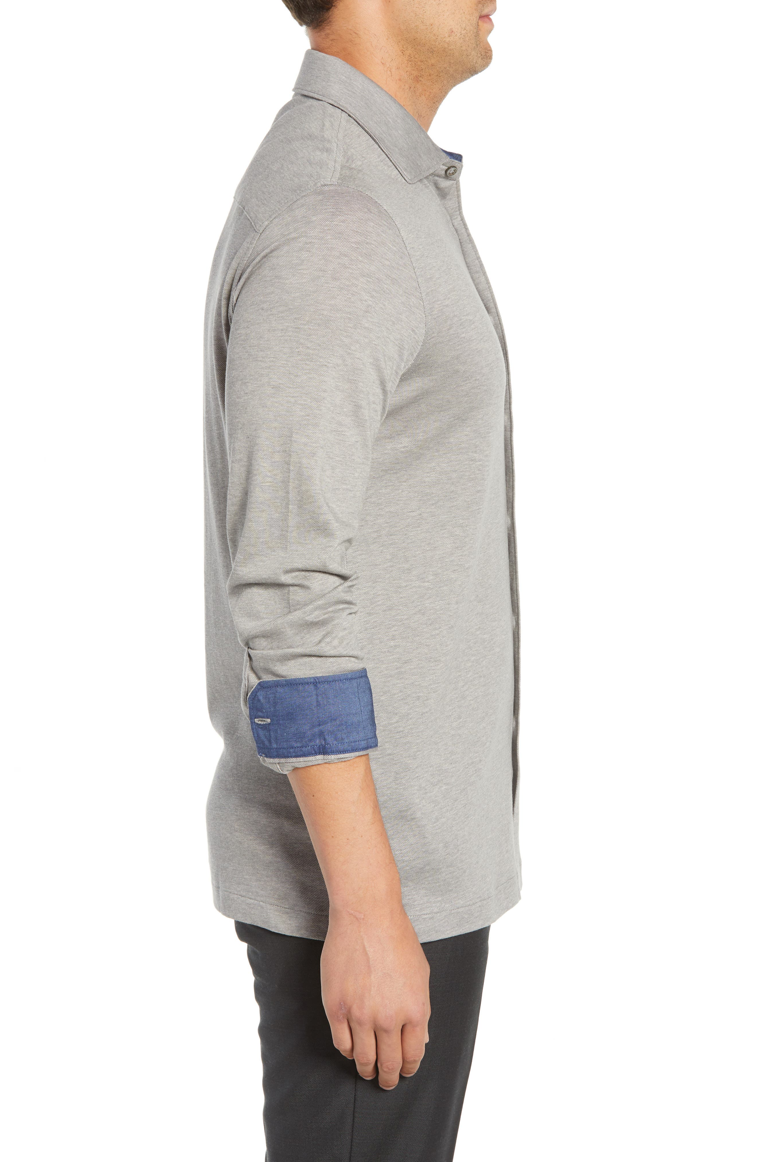 Shaped Fit Contrast Cuff Sport Shirt,                             Alternate thumbnail 4, color,                             GRAPHITE
