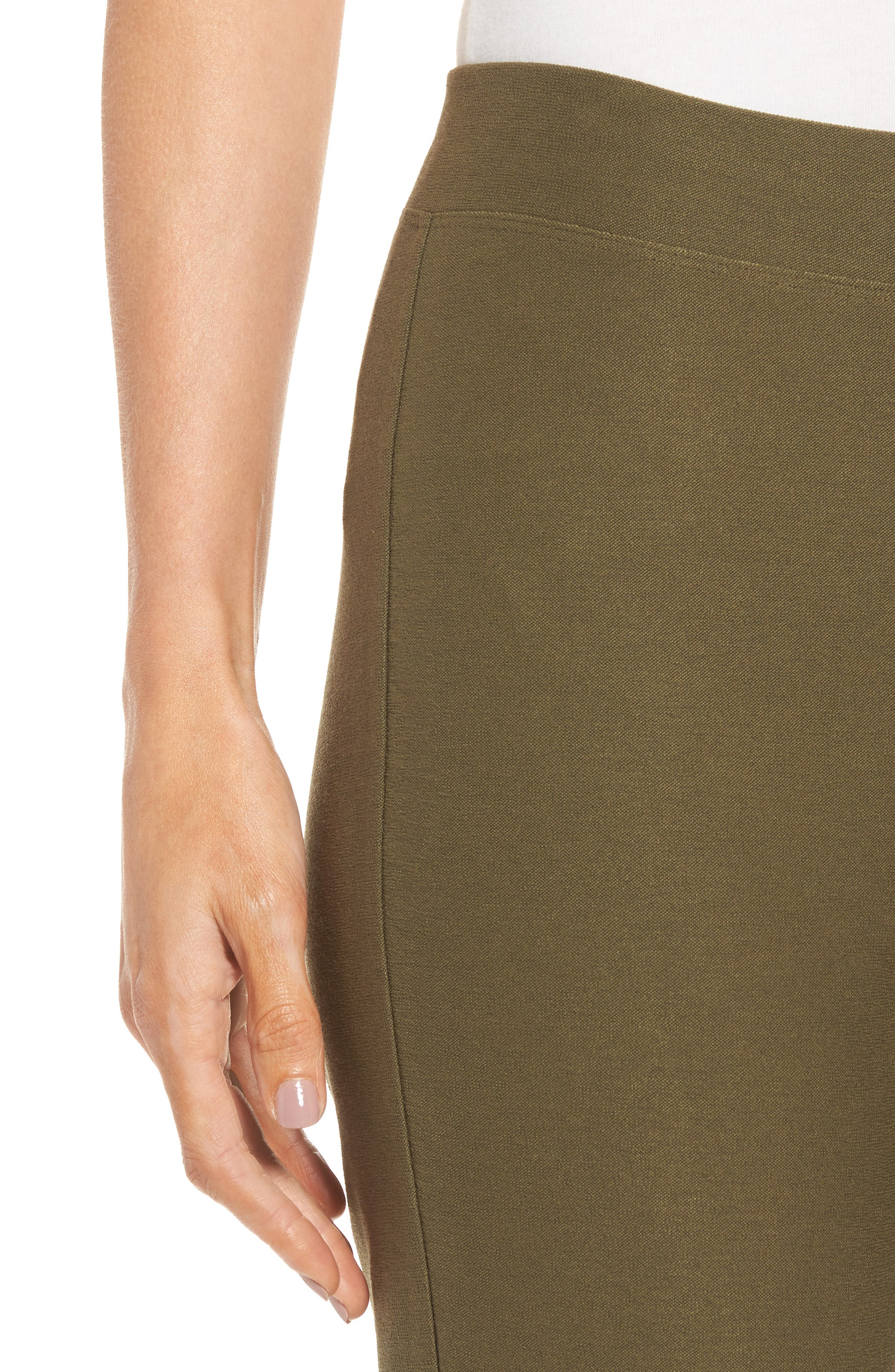 Stretch Crepe Slim Ankle Pants,                             Alternate thumbnail 4, color,                             OLIVE