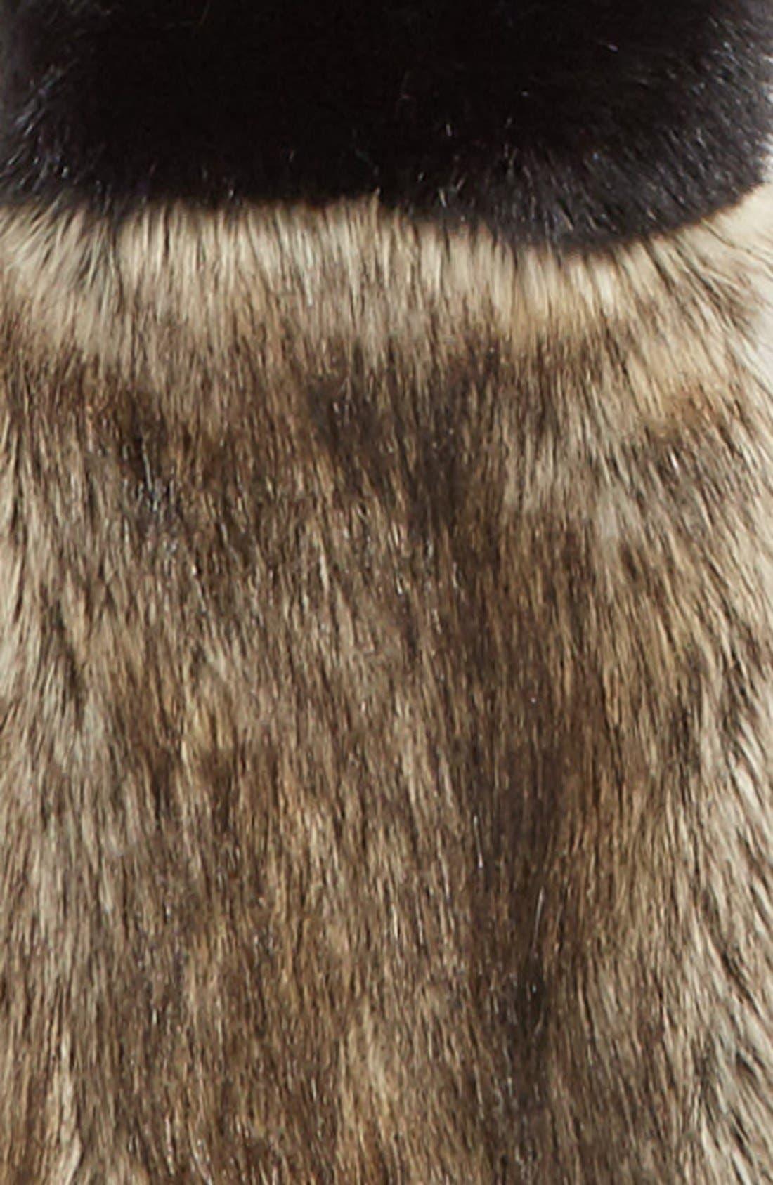 LEITH,                             Colorblock Faux Fur Stole,                             Alternate thumbnail 3, color,                             001