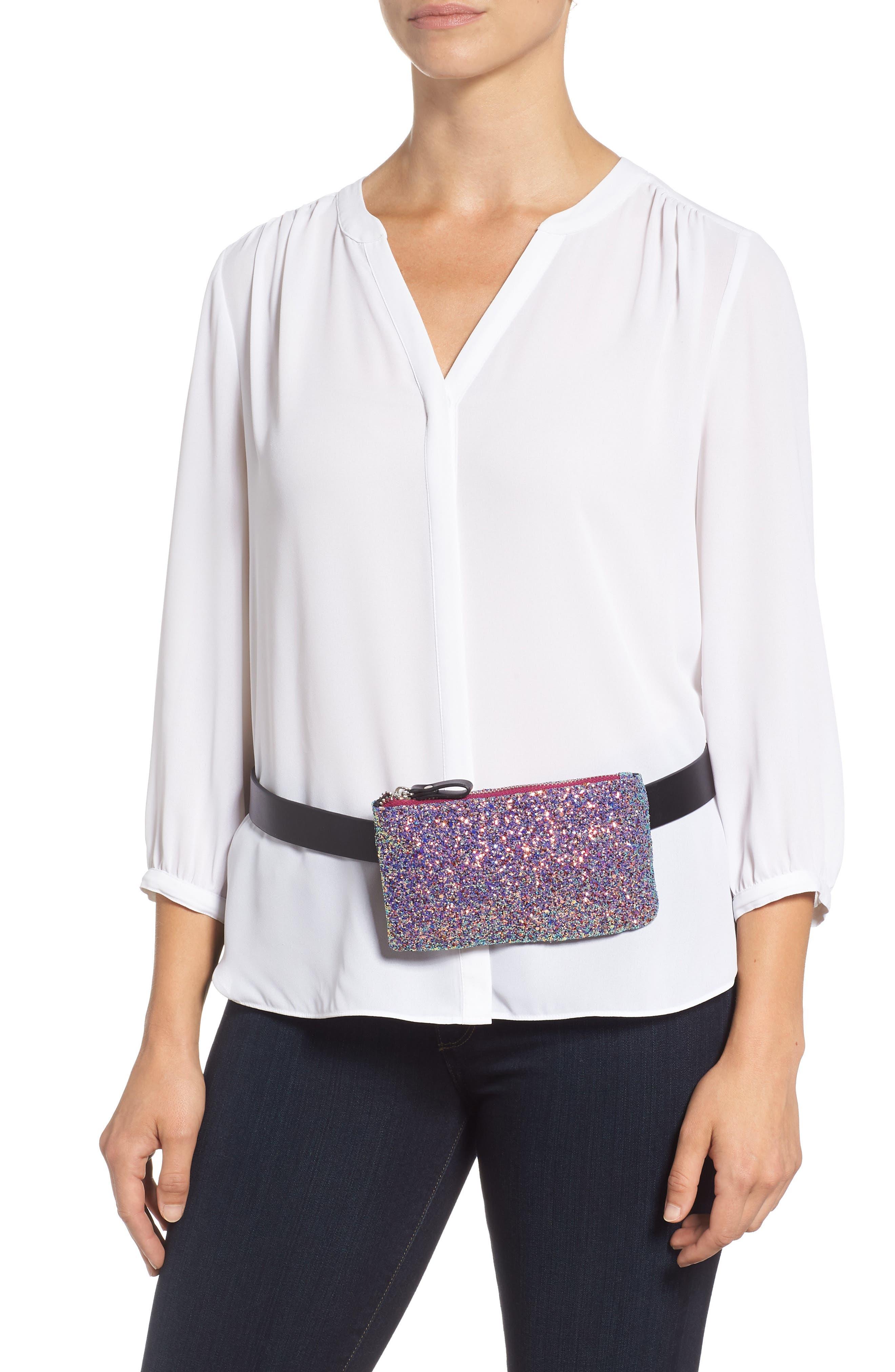 Glitter Belt Bag,                             Alternate thumbnail 2, color,                             PINK MULTI