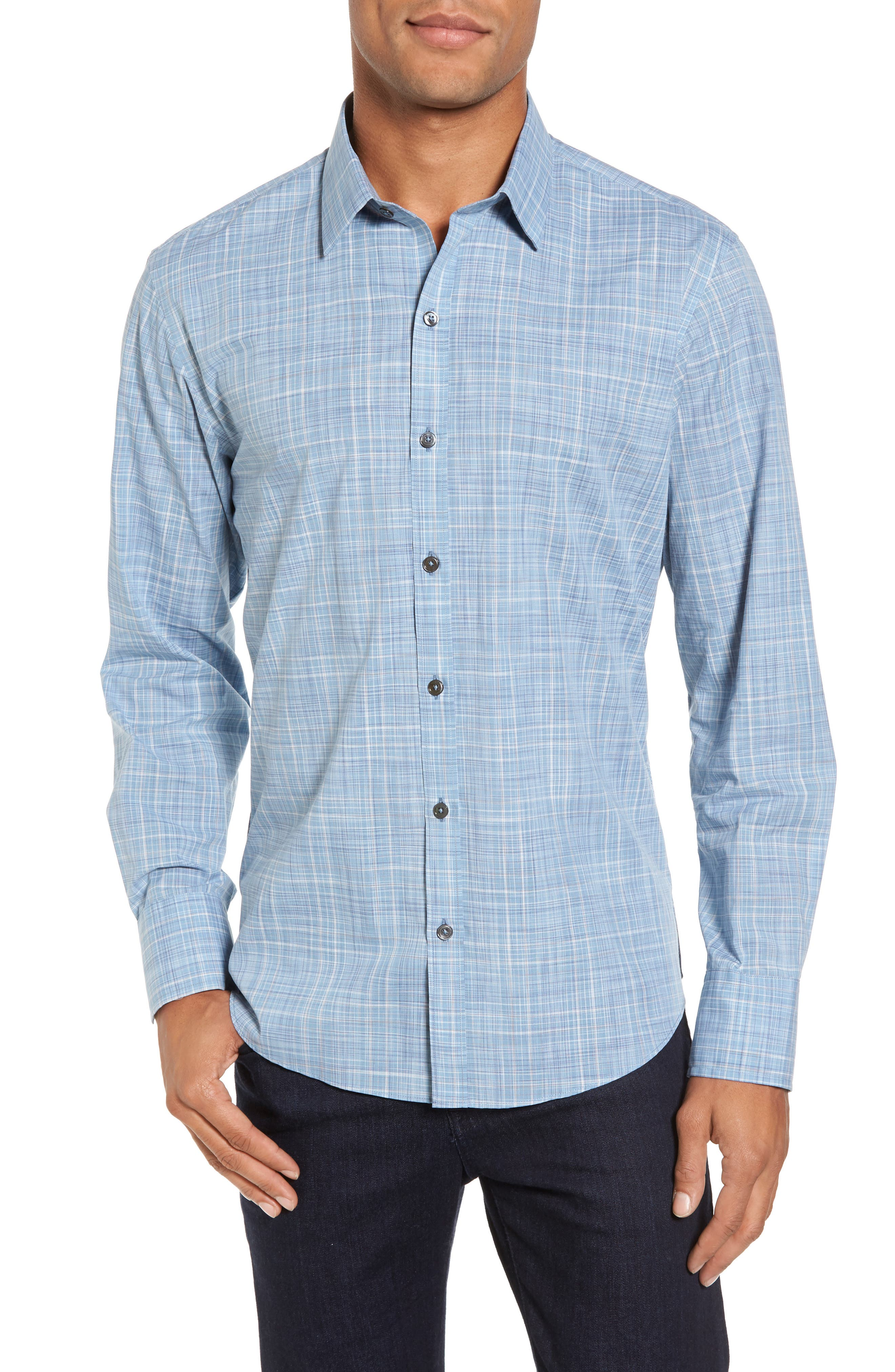 Clark Slim Fit Plaid Sport Shirt,                             Main thumbnail 1, color,